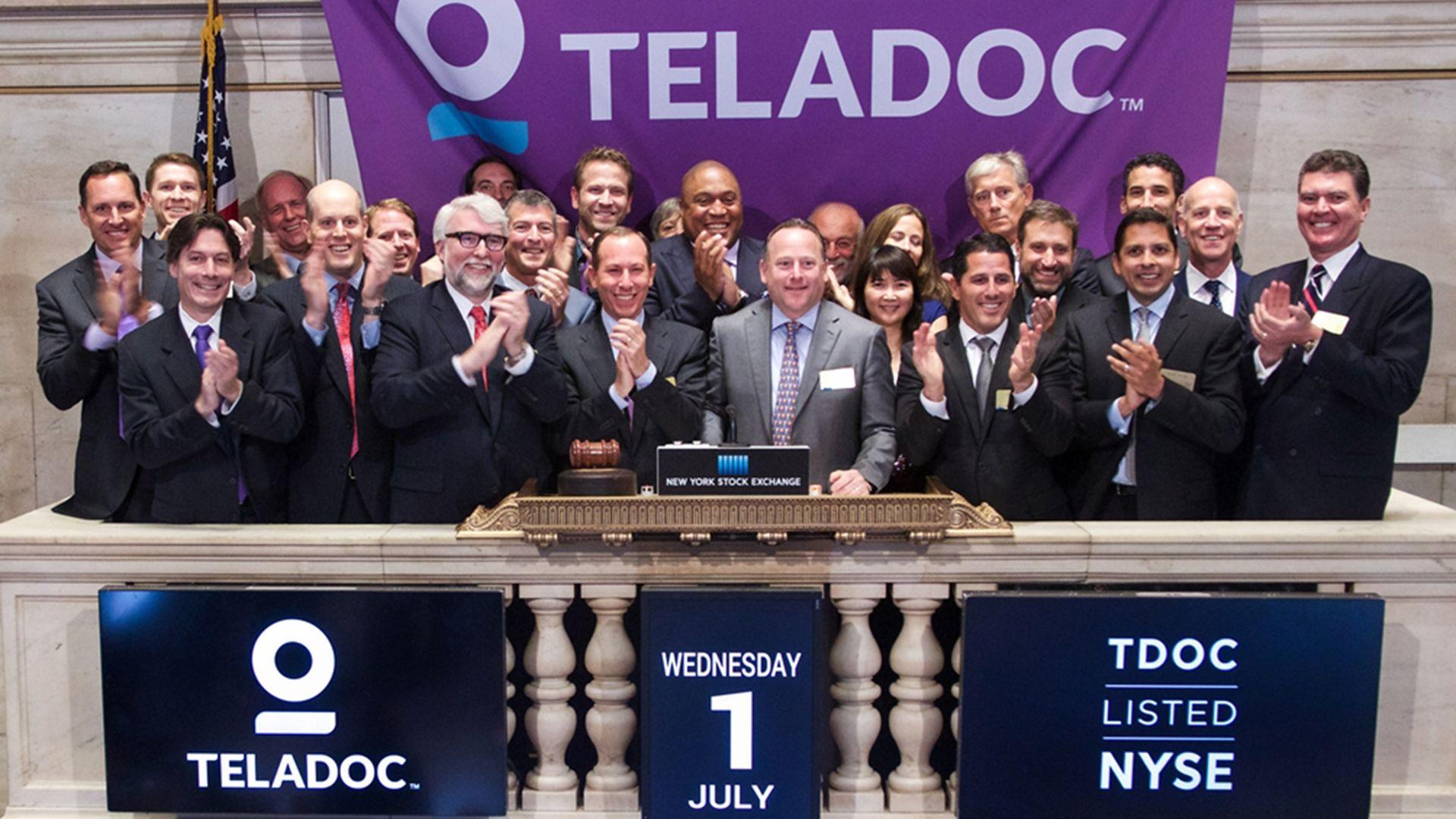 Teladoc executives at the New York Stock Exchange.