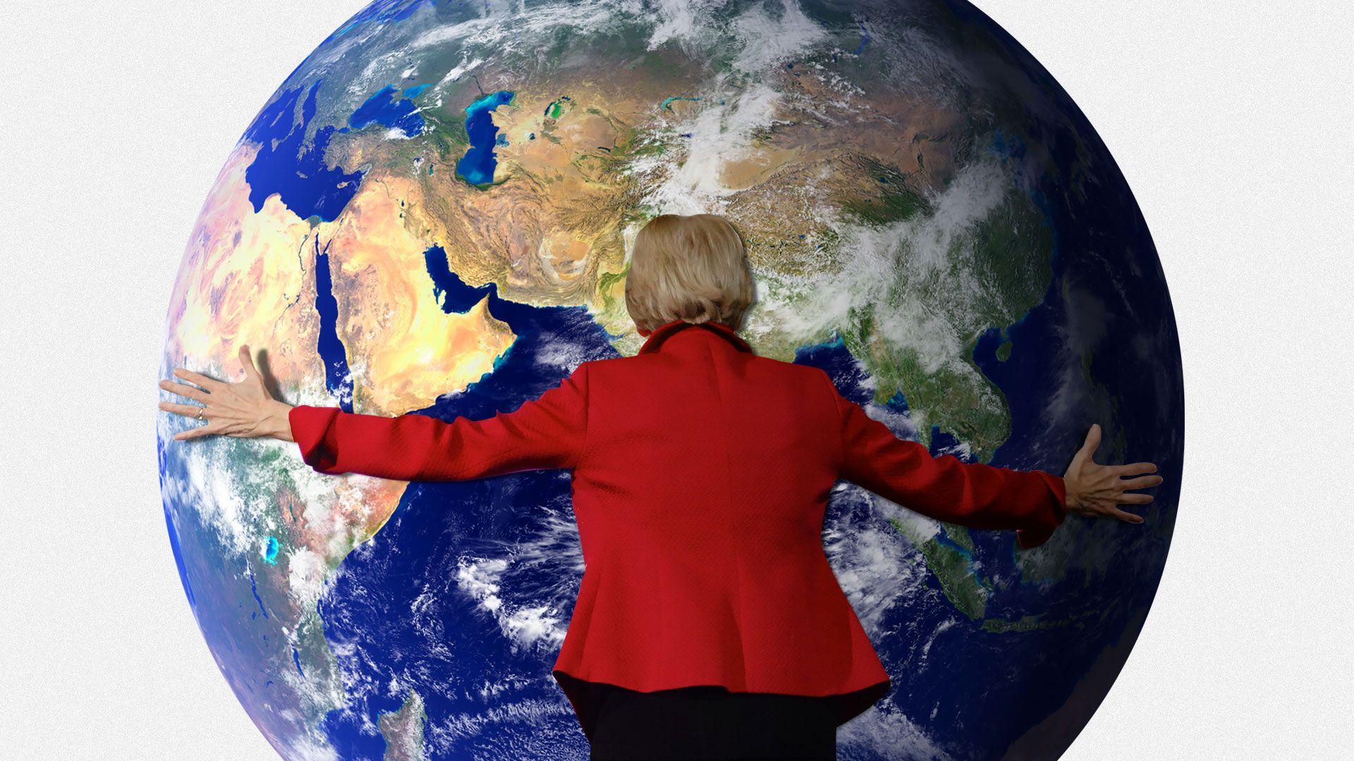 Illustration of Elizabeth Warren hugging the earth