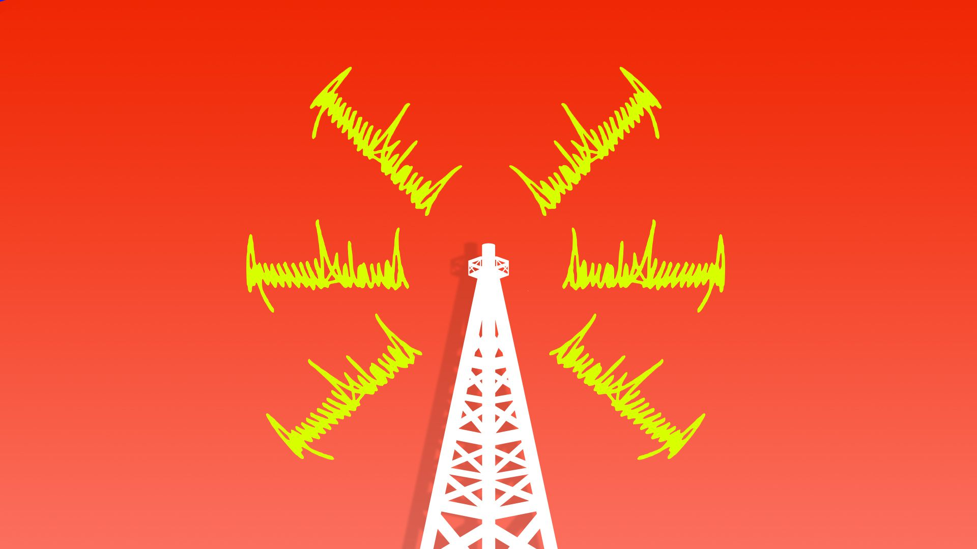 Red background with yellow windmill furiously turning