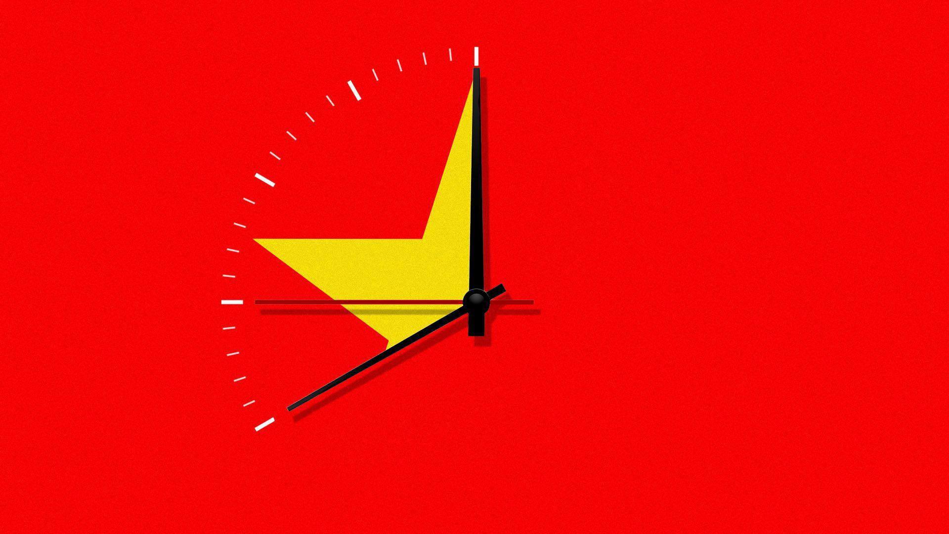 Chinese flag as a clock face.