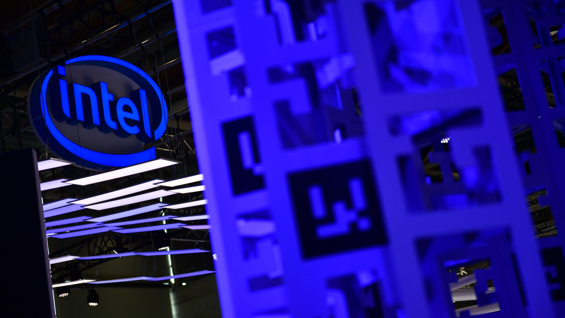 Intel logo in blue.