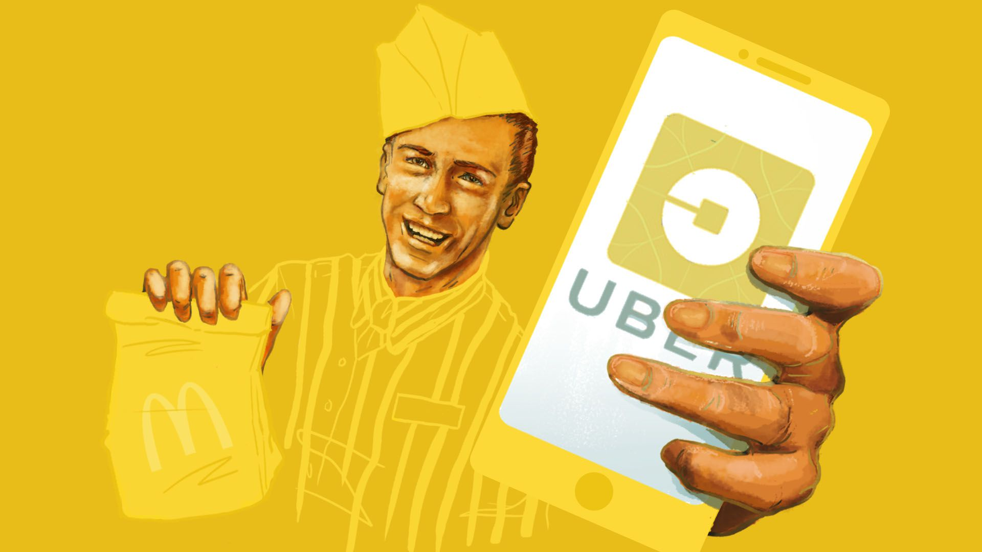Illustration of man holding a McDonald's bag and a cell phone with the Uber app