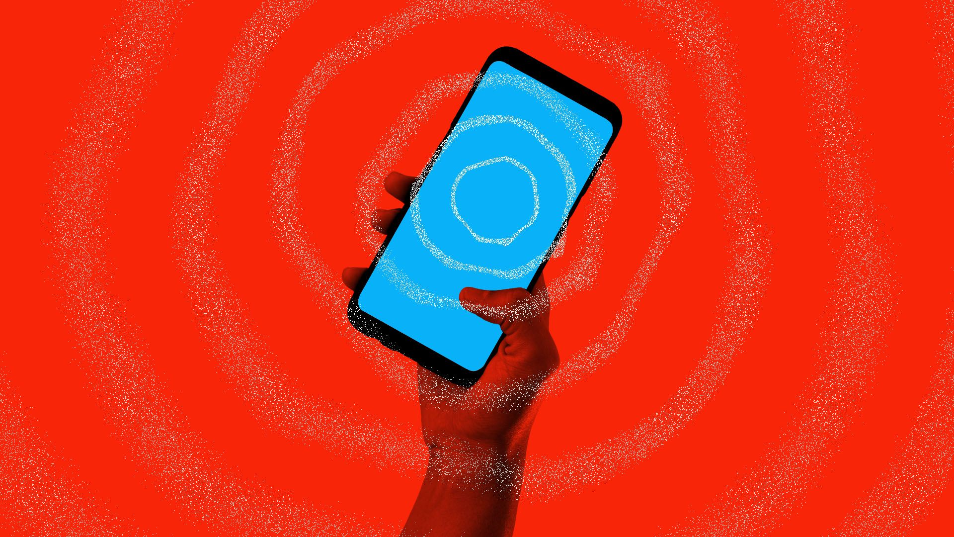 Illustration of a cellphone emanating an earthquake warning