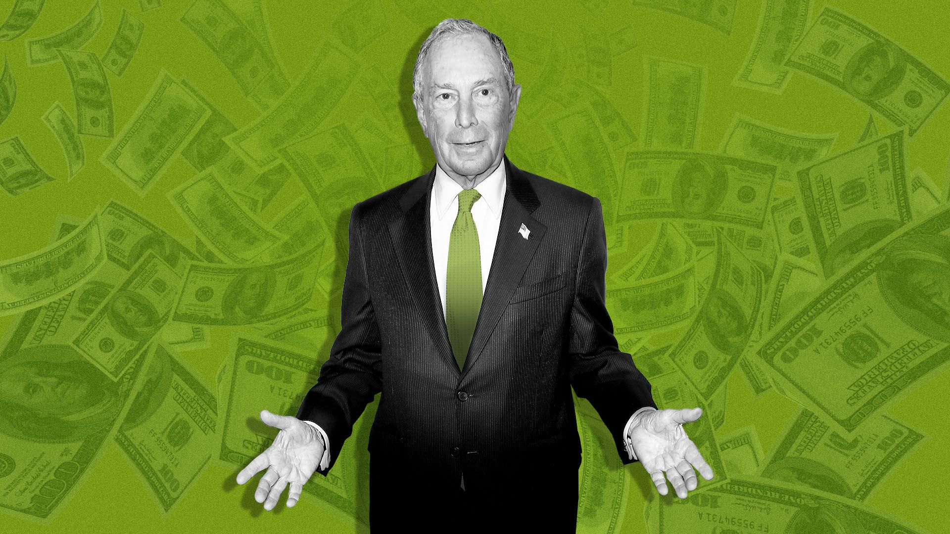 Illustration of Michael Bloomberg with money falling in the background.