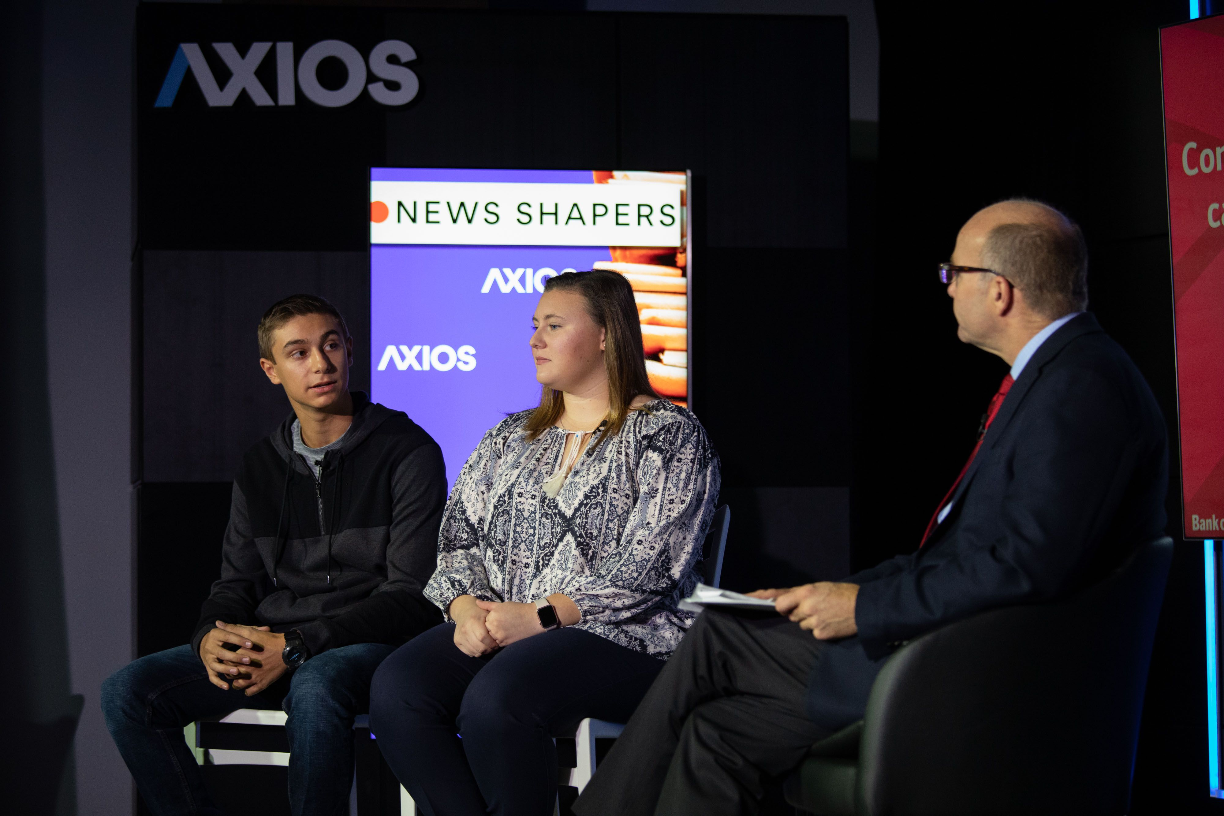 Winston Churchill High School students being interviewed by Mike Allen on the Axios stage