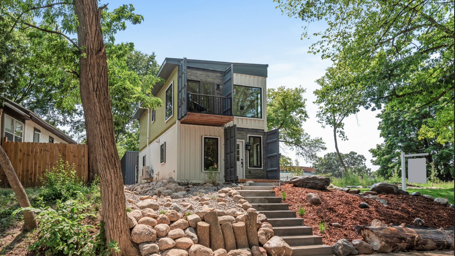 The exterior of a shipping container home for sale in Minneapolis.