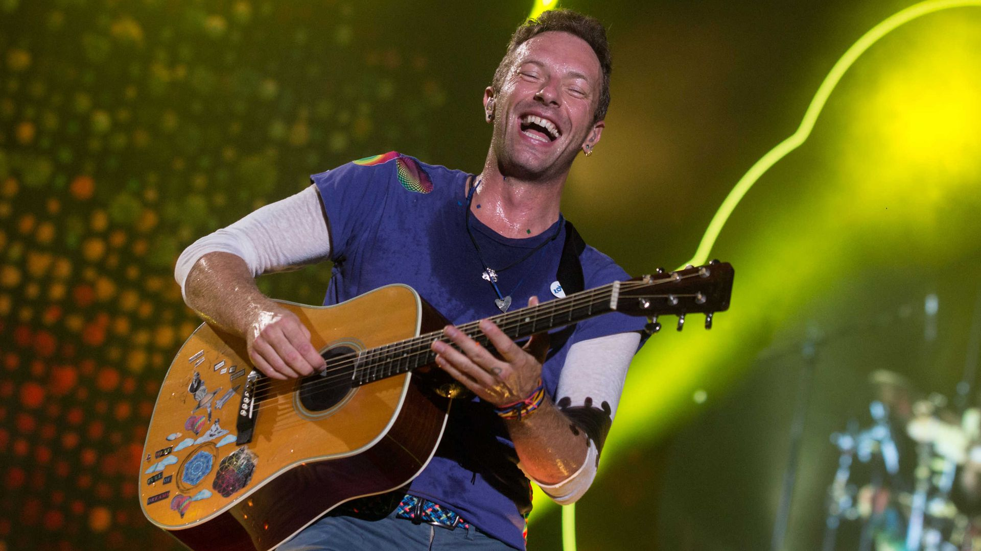 Chris Martin of Coldplay performs in Argentina in 2017