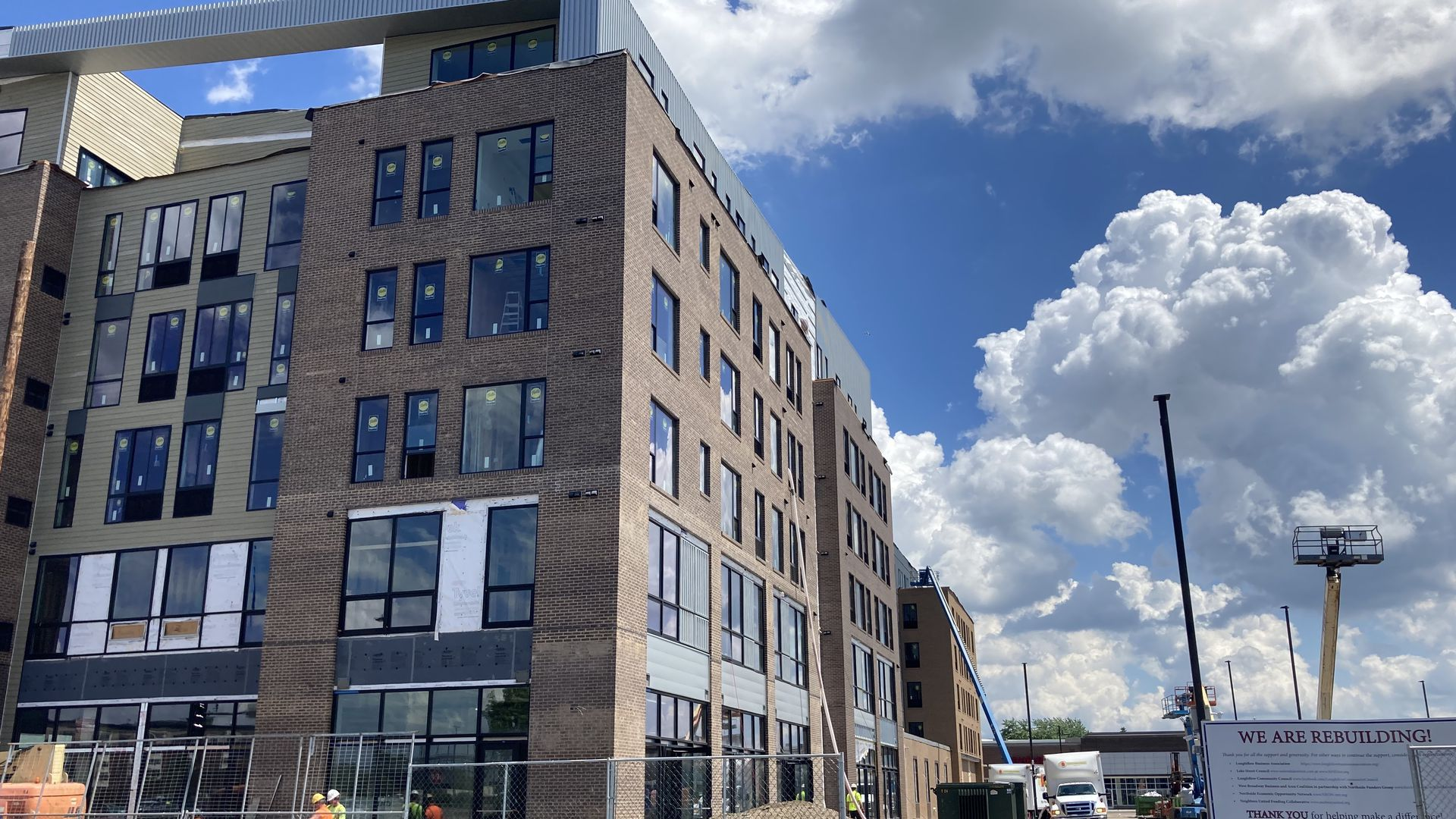 The exterior of a new Midtown Center apartment building in Minneapolis.