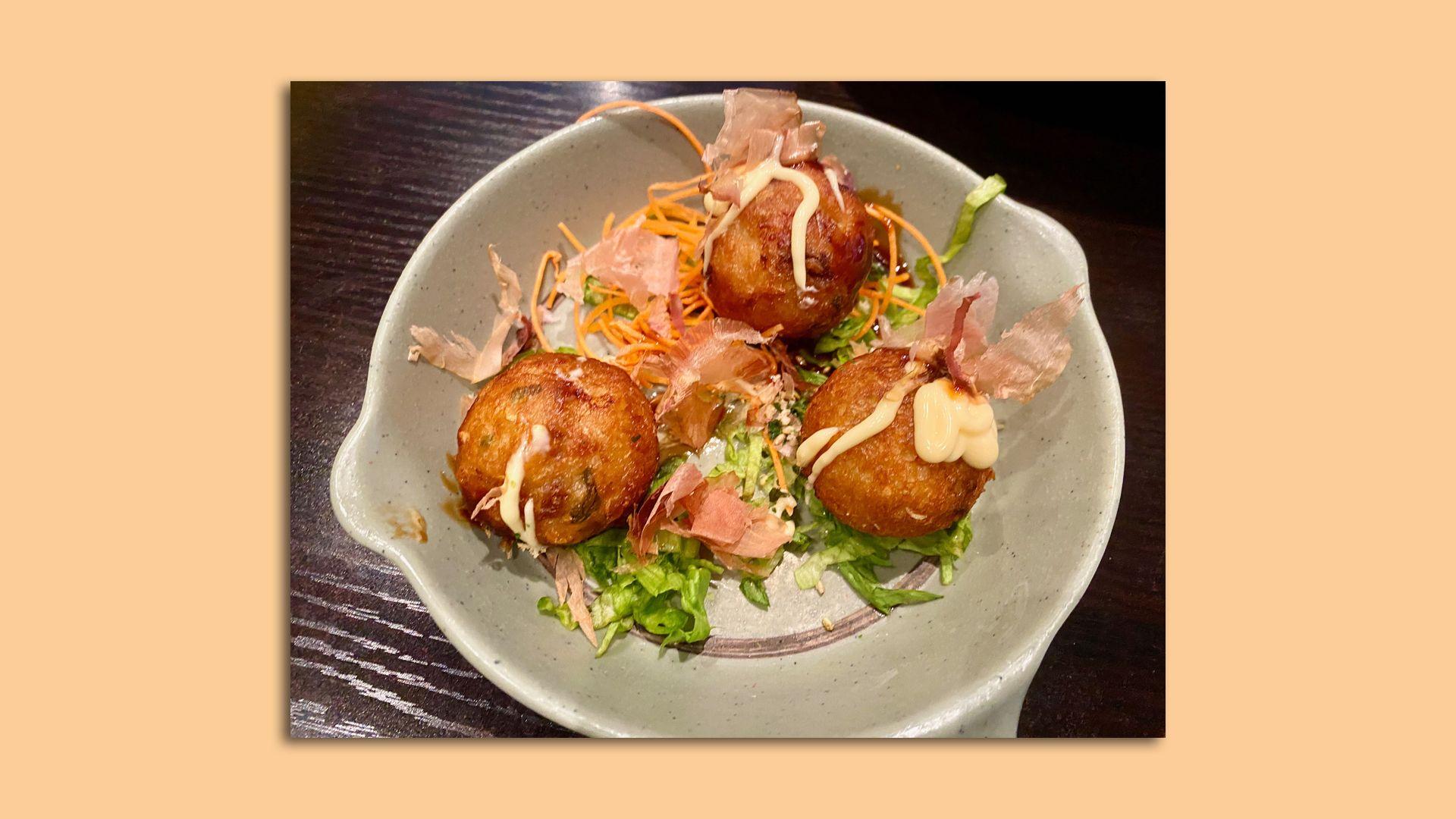 A takoyaki appetizer from Hana Ramen Sushi.