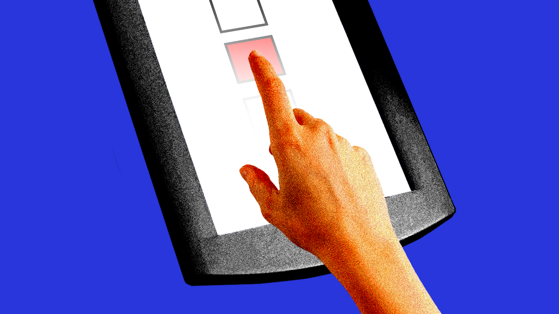 A hand touching an electronic voting touchscreen