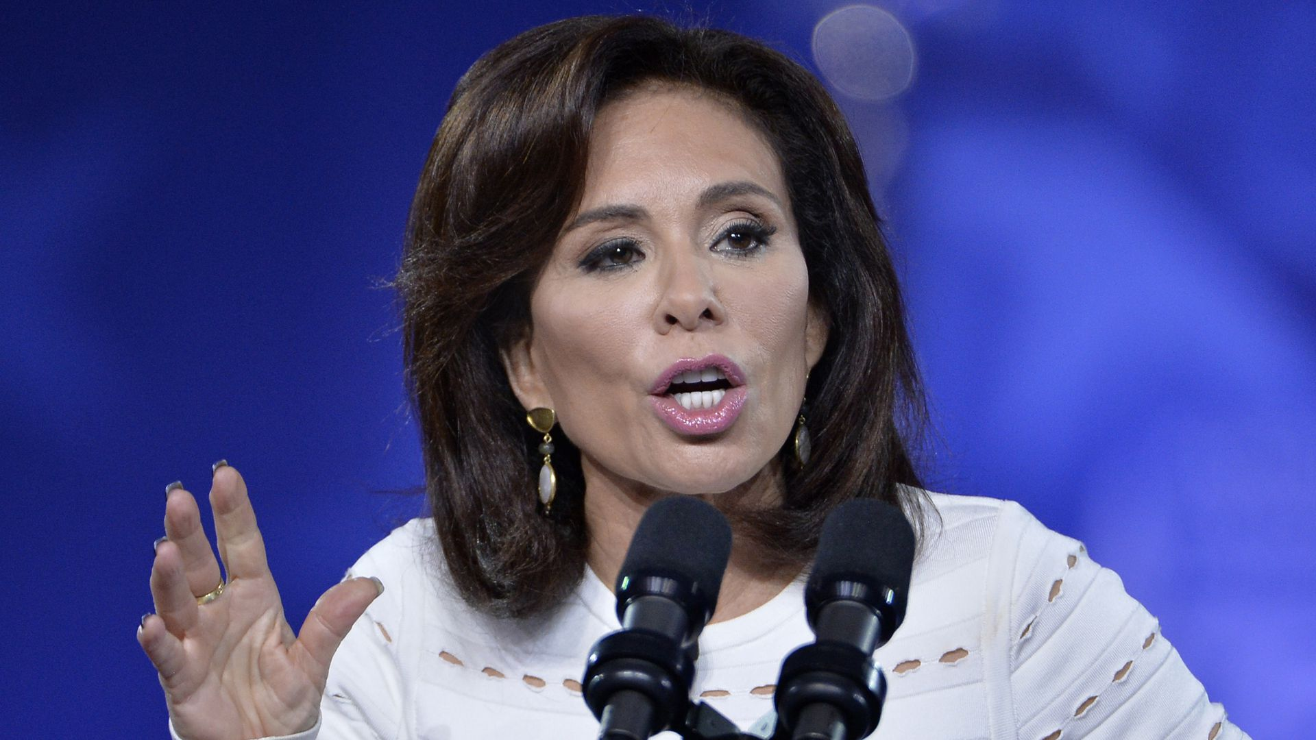 "Fox News has replaced Jeanine Pirro's weekly program with a repeat  episode of its documentary series ""Scandalous."""