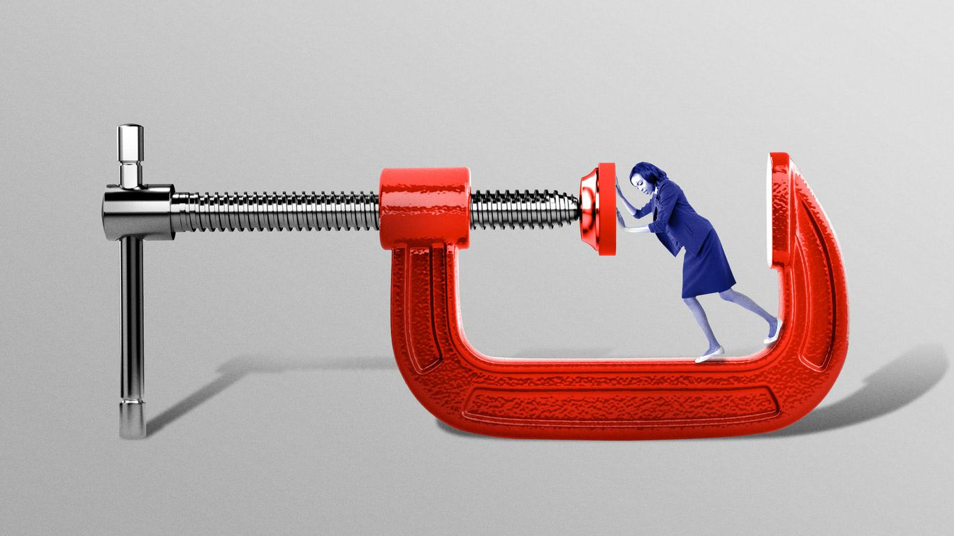 Illustration of person pushing as a vice is closing in