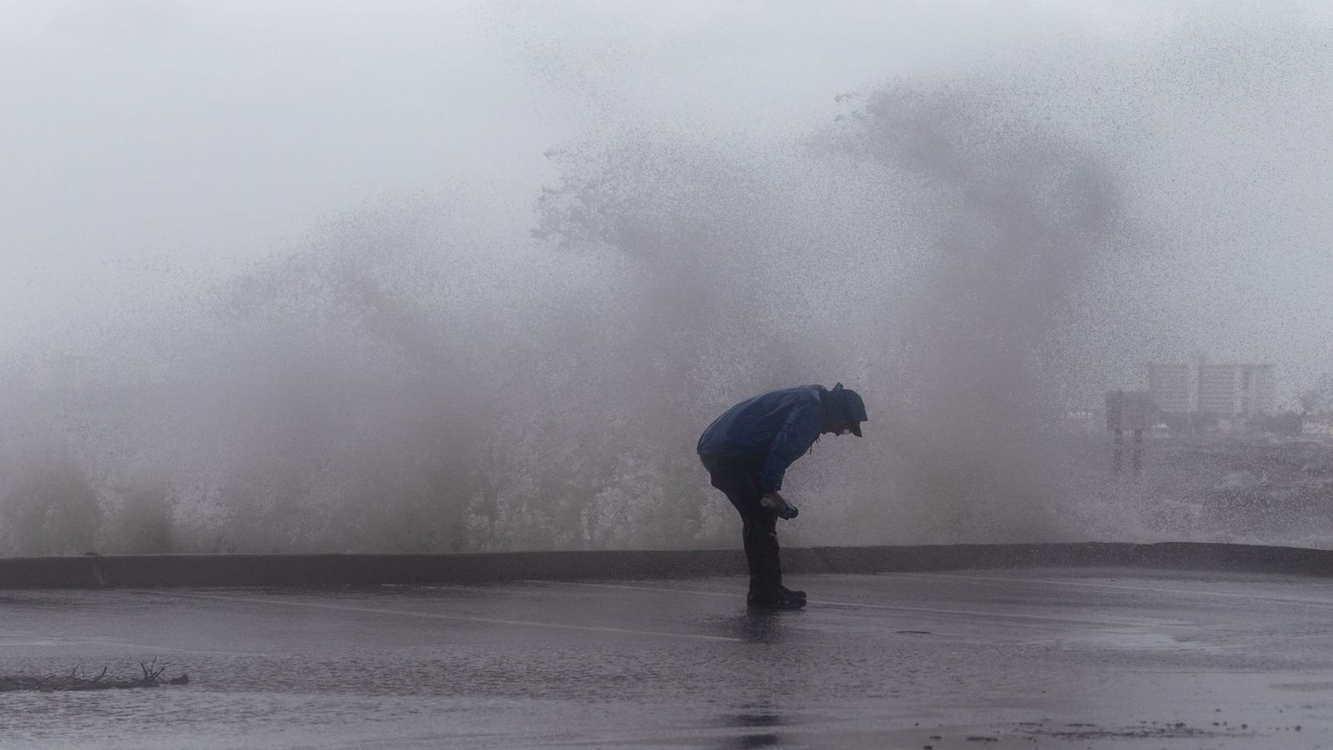 Strong gusts of wind and bands of heavy rain hit the Jensen Beach Causeway Park in Jensen Beach, Florida on Tuesday.