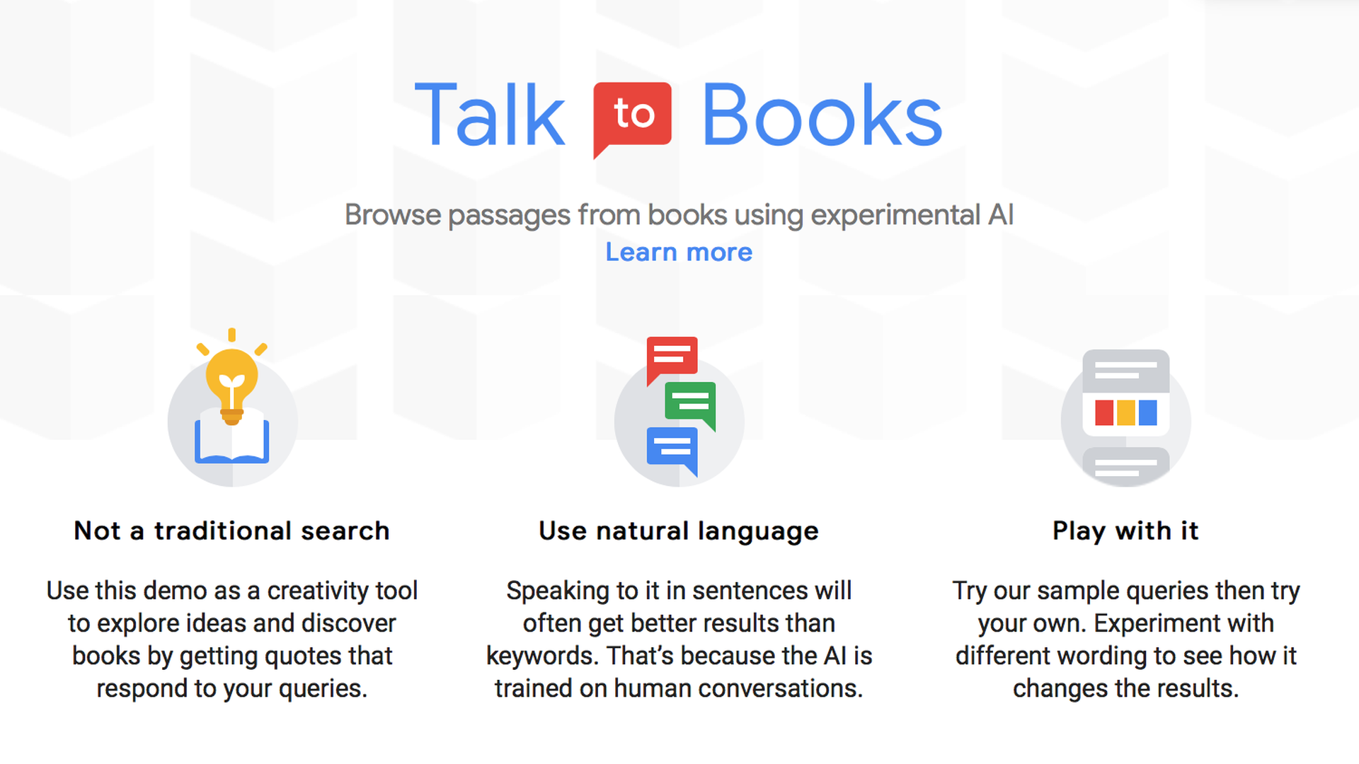 Web page displaying Google's Talk to Books experimental tool