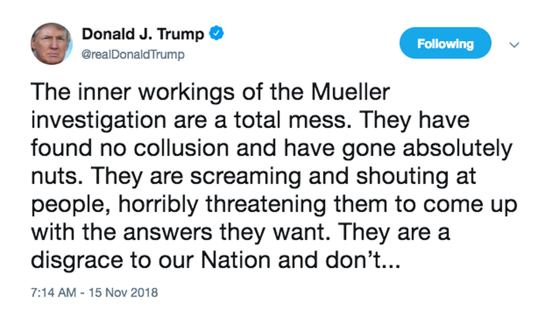 Trump renews attacks on Mueller investigation after midterms