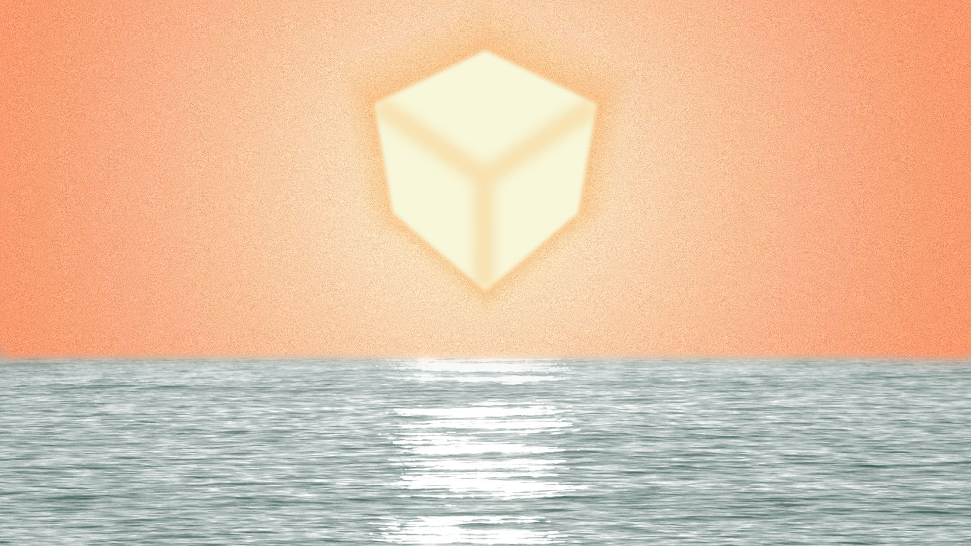 Illustration of a block-shaped sun over the water.