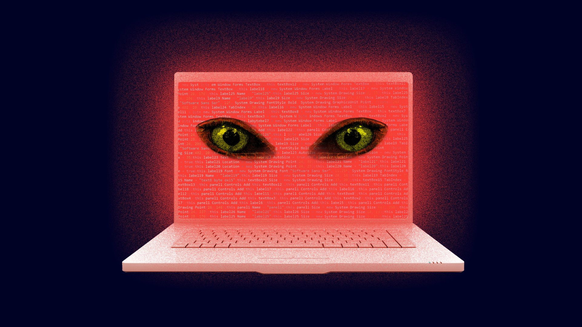 A laptop displays menacing eyes on a red screen.