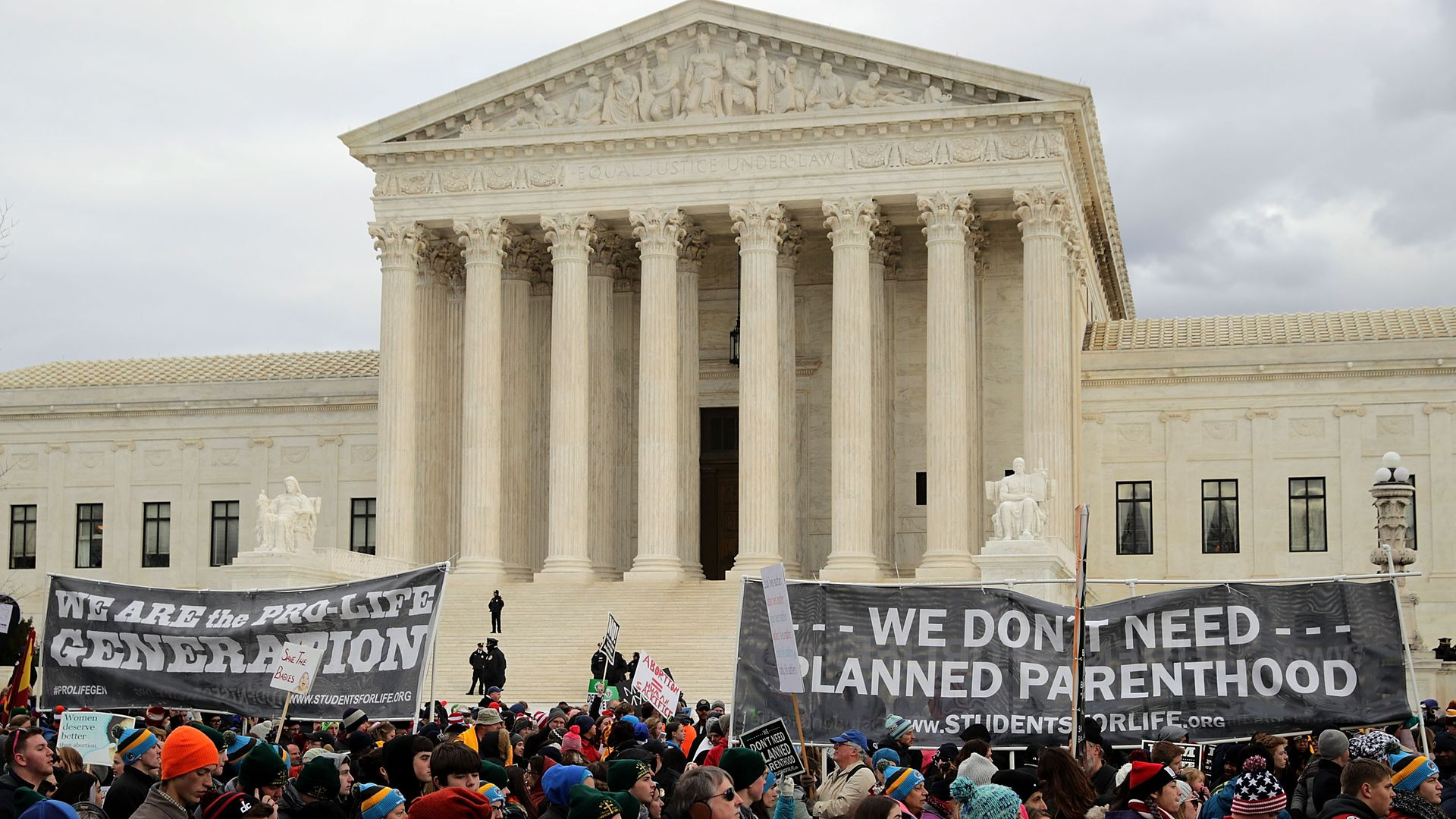 The annual March for Life, outside the Supreme Court building