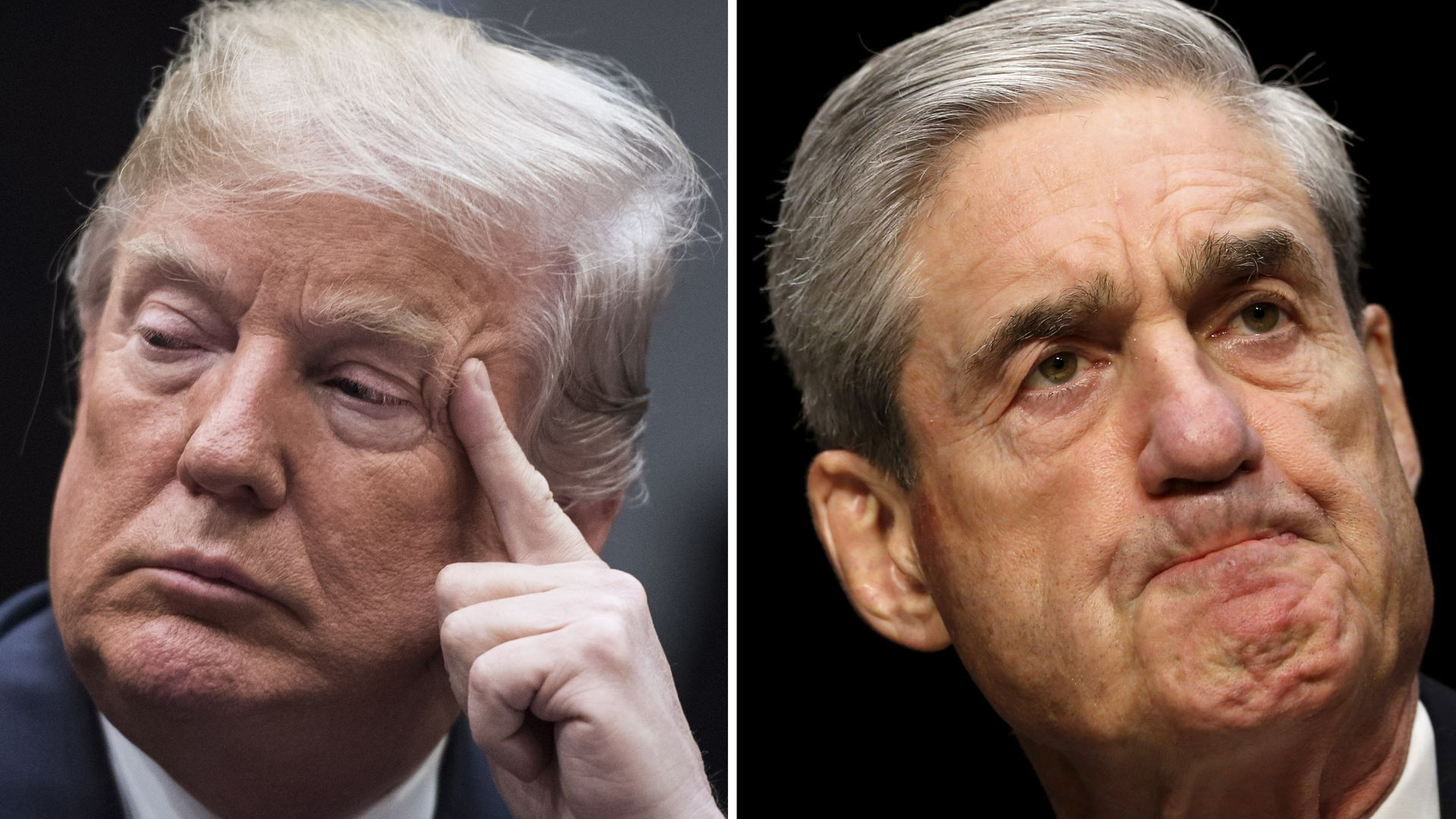 Left, President Donald Trump at the White House on Jan. 04, 2018. Robert Mueller on Capitol Hill in 2013.