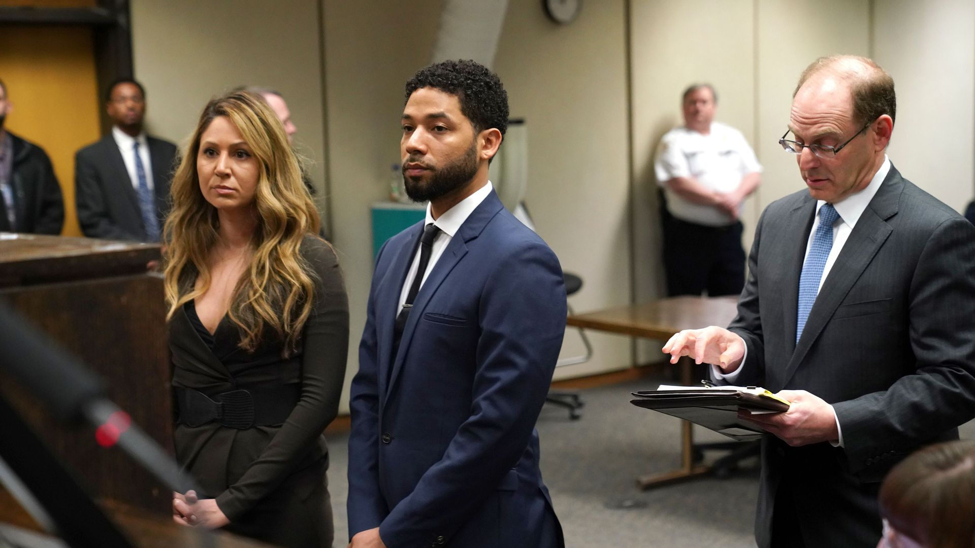 """Empire"" actor Jussie Smollett with his attorney Tina Glandian in court last month in Chicago."