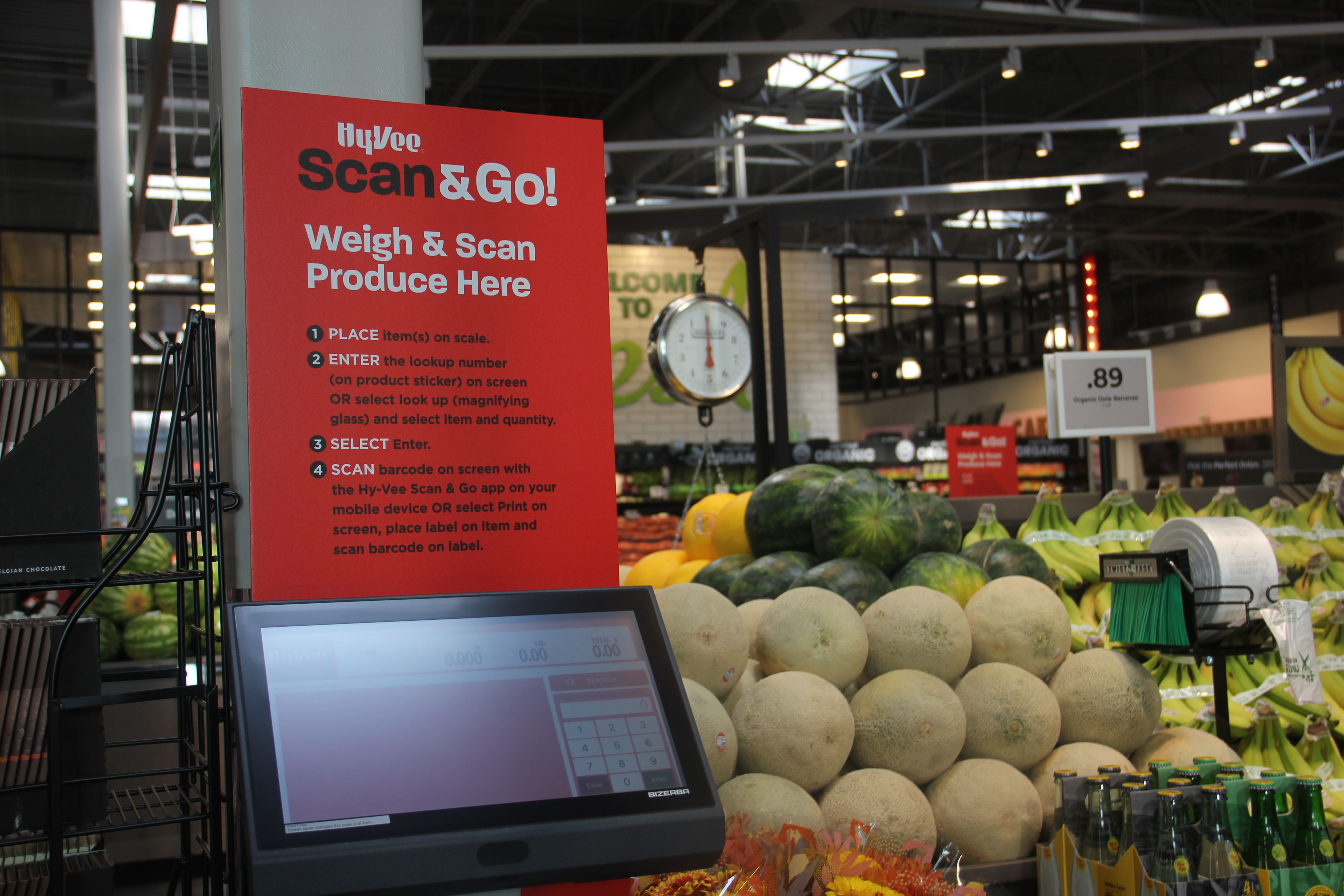 a scan and go kiosk at Hy-Vee