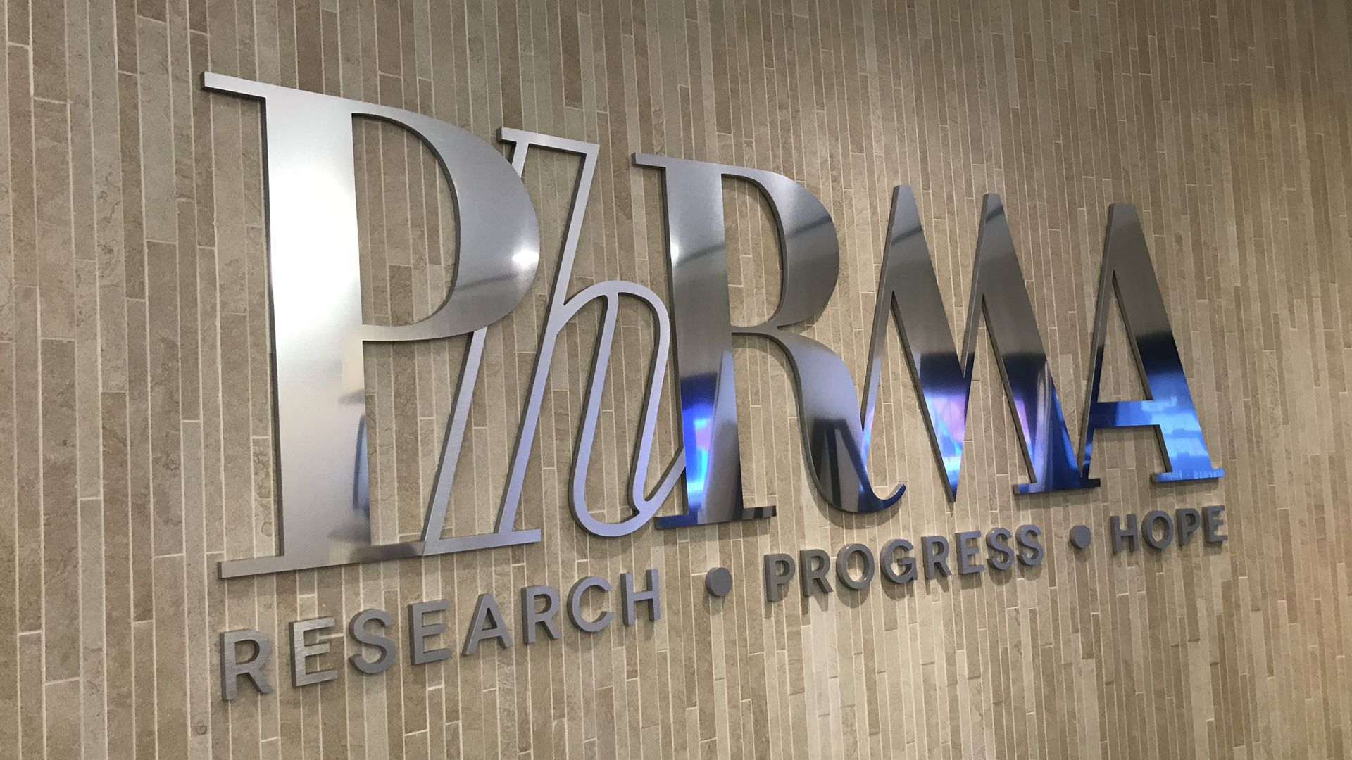 The PhRMA logo in the organization's D.C. office.