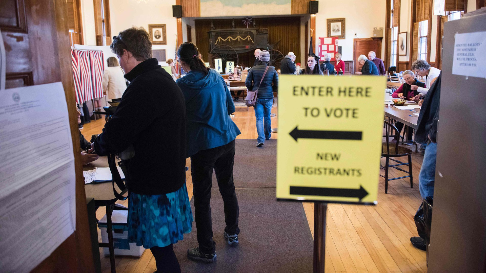 Voters cast their ballots in Sutton, New Hampshire. Photo: Ryan McBride/AFP/Getty Images