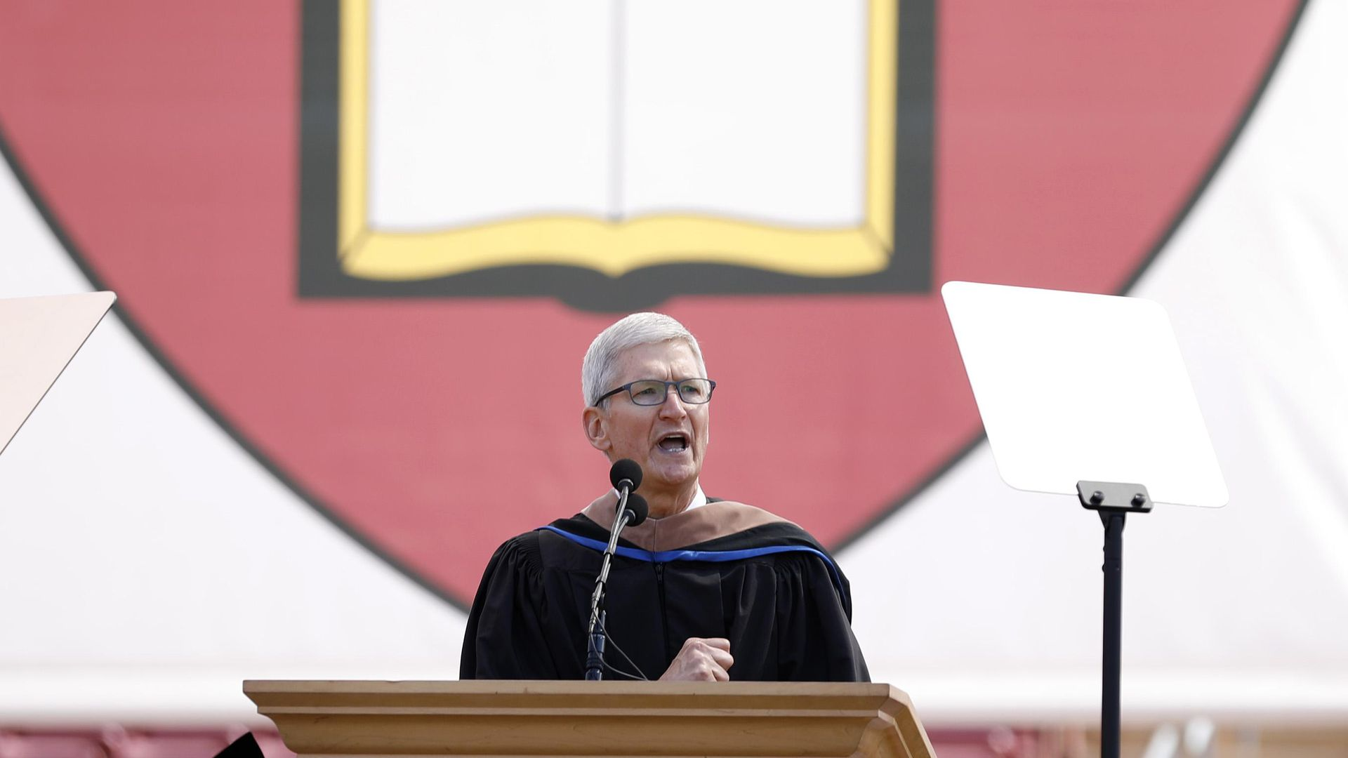 Apple CEO Tim Cook at the lectern during Sunday's commencement for Stanford graduates