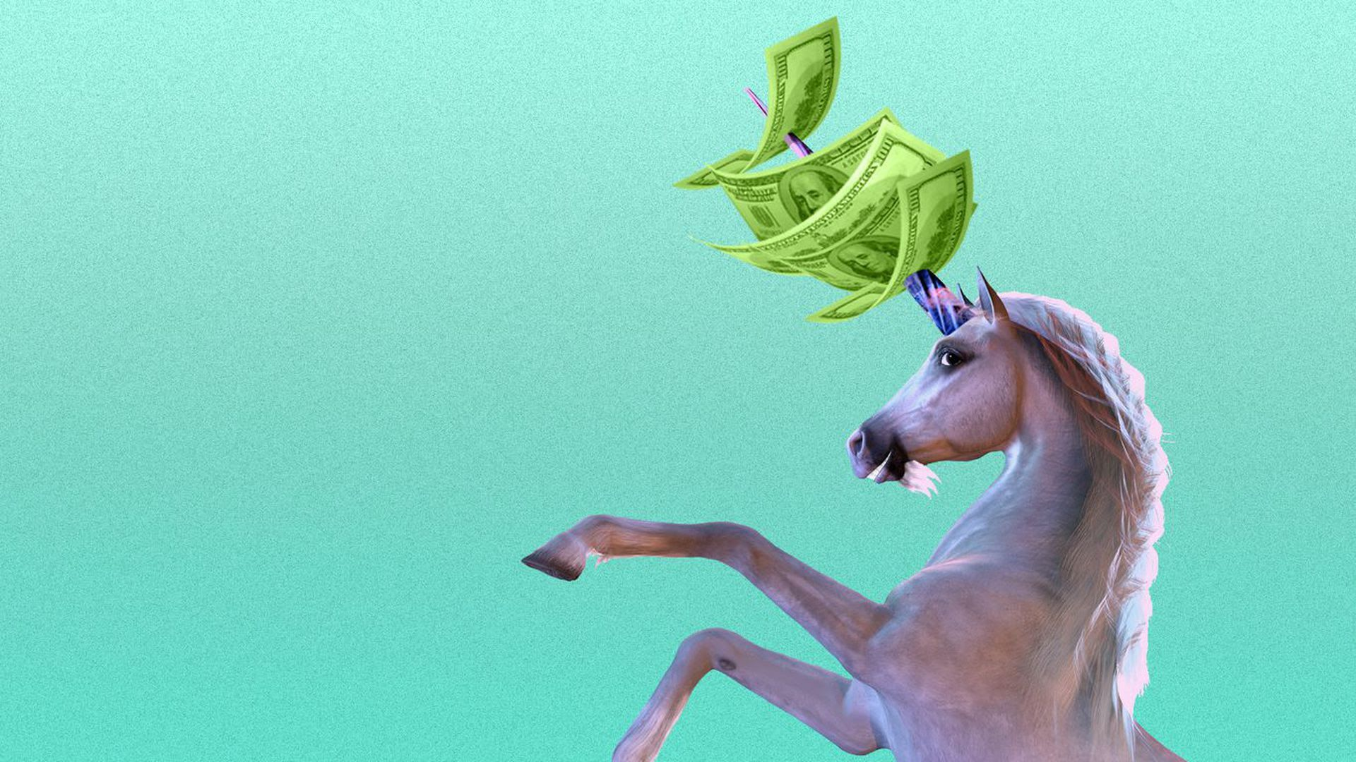 An illustration of a unicorn with cash speared through its horn.