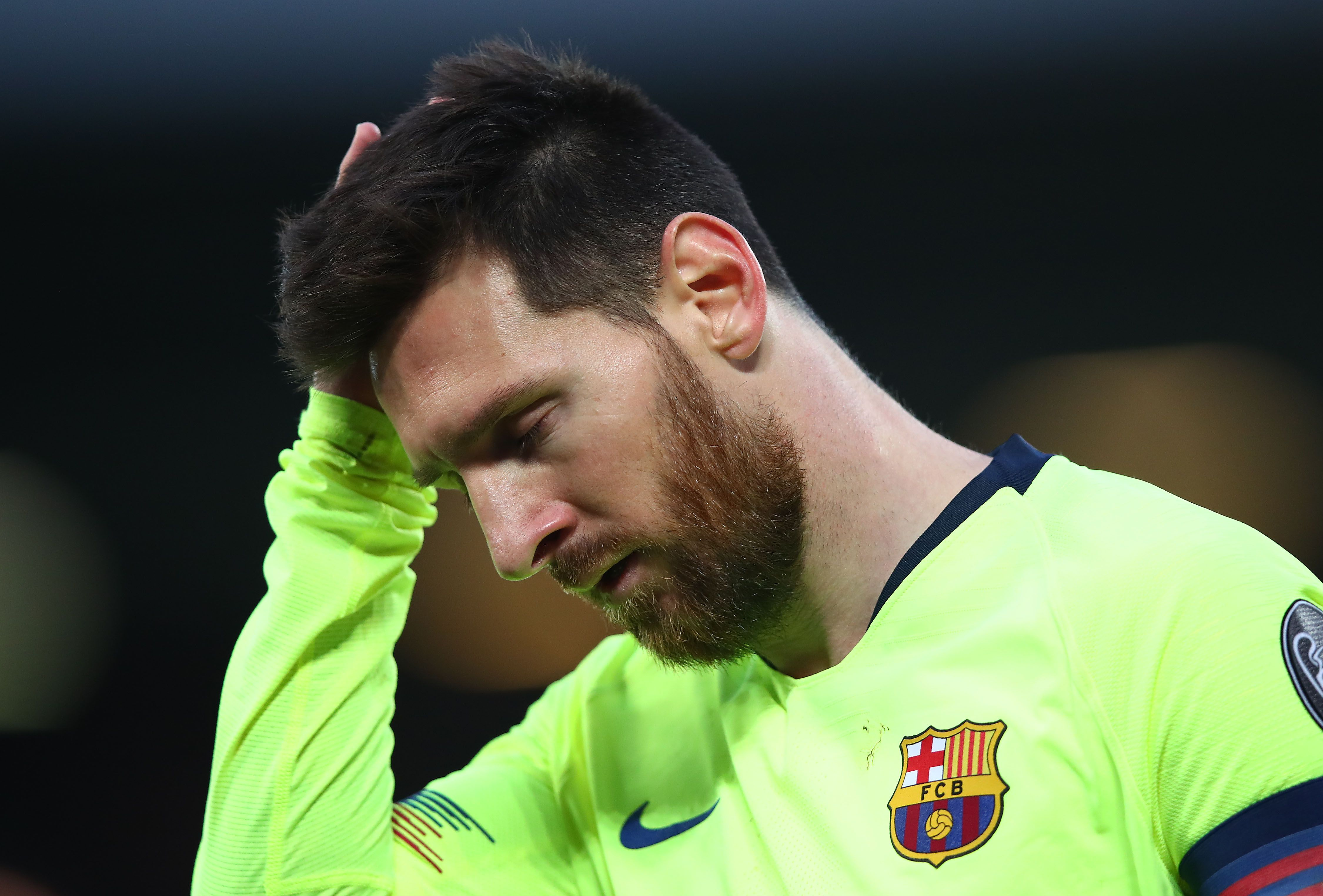 Lionel Messi looking dejected