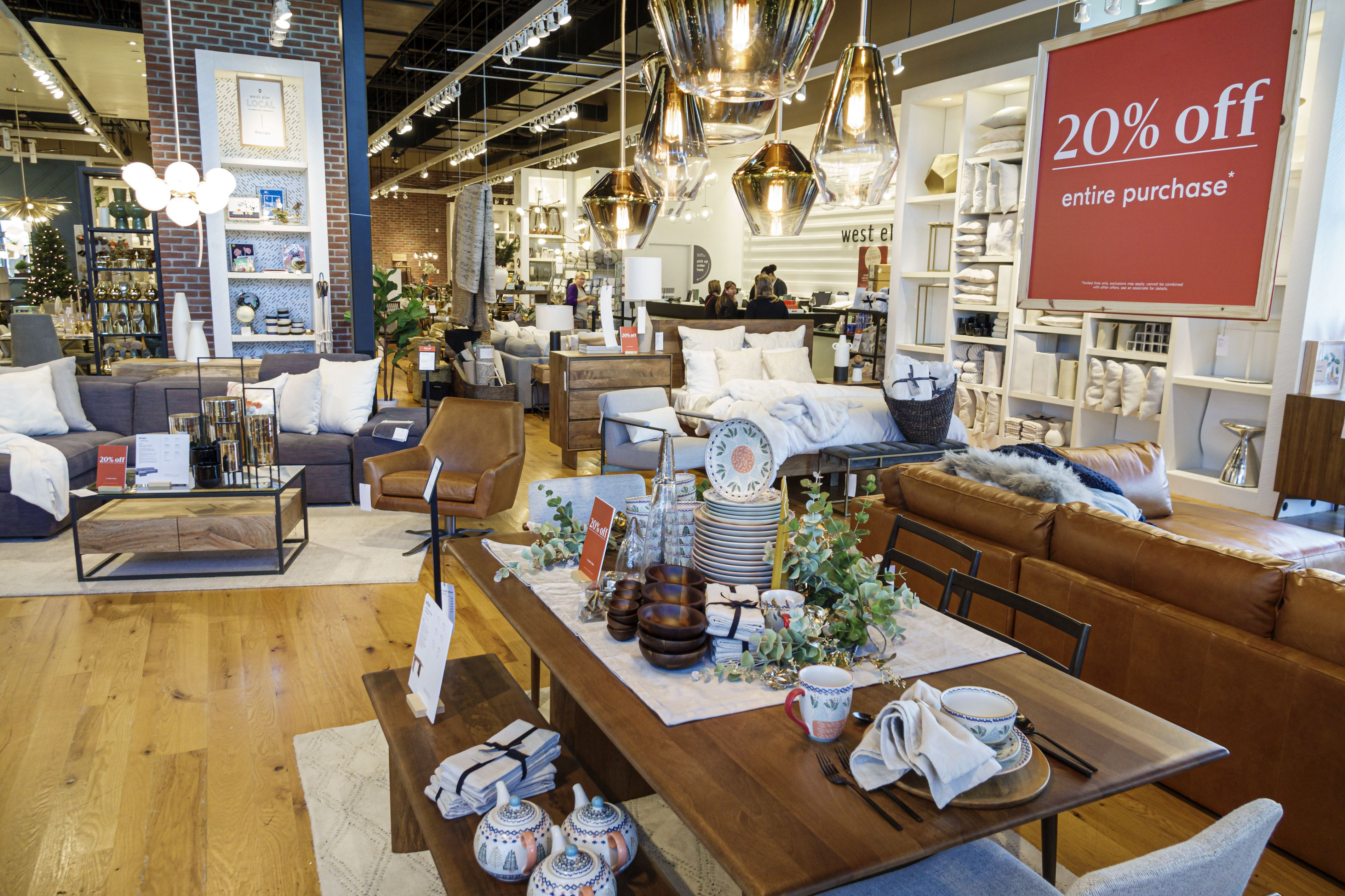The interior of a Crate & Barrel store