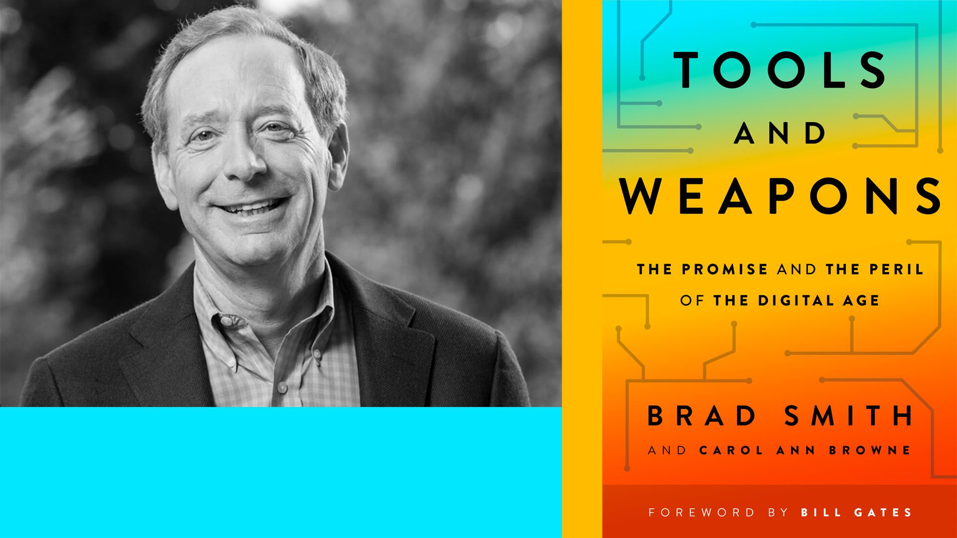 Photo collage of Brad smith and his book, Tools and Weapons