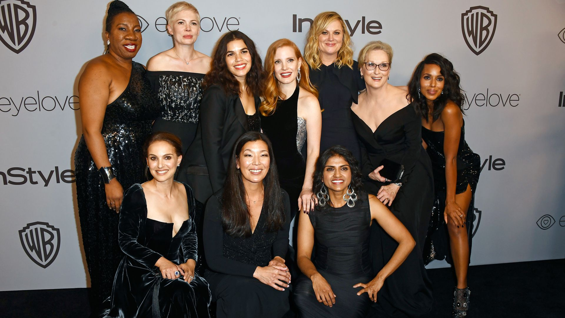 Photo of actresses at the Golden Globes wearing all black.