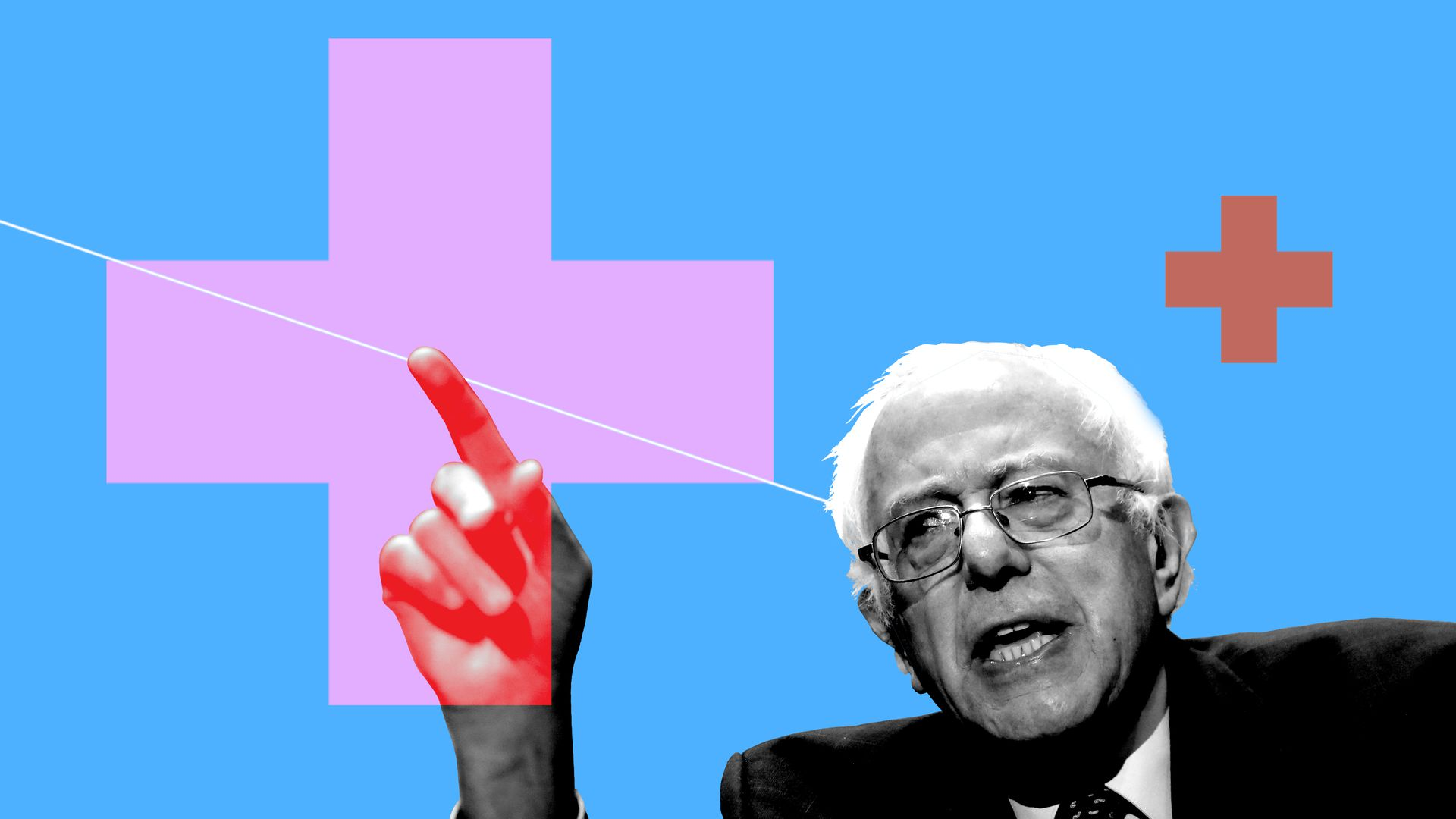 Illustrated collage of Bernie Sanders with red crosses.