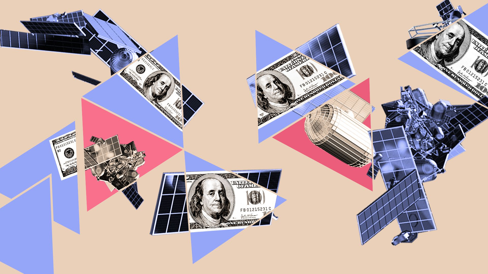 Illustrated collage of satellites and money