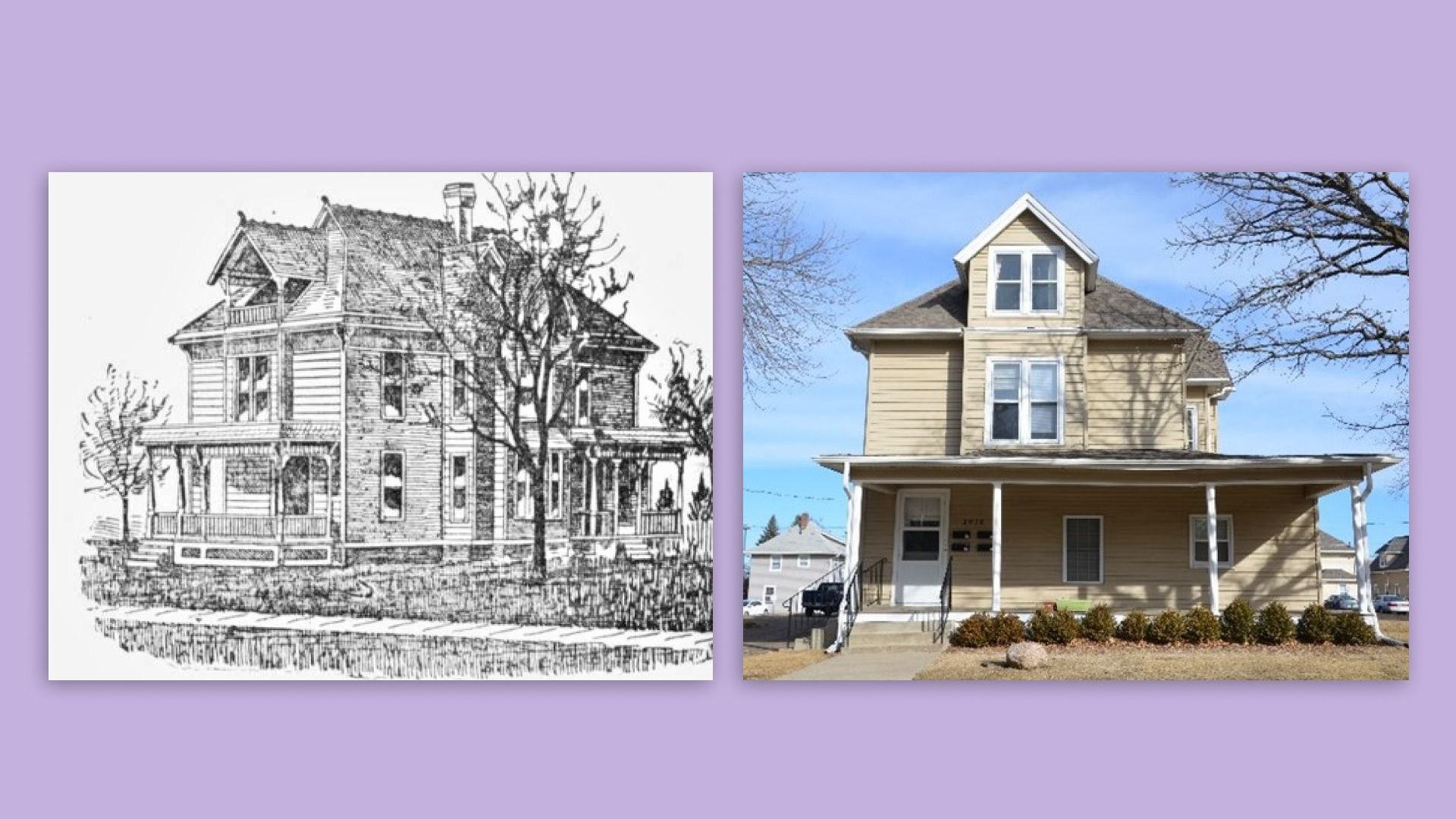 A drawing next to a photo of a historic Victorian house in Des Moines.