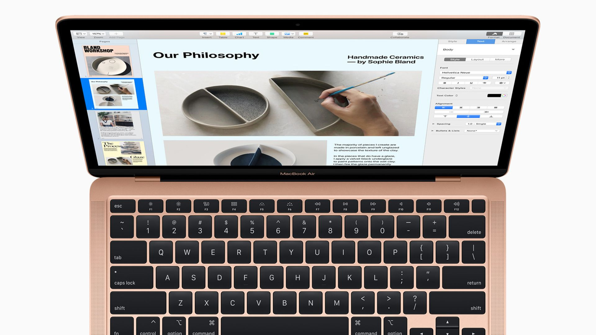 Apple's new MacBook Air, seen here in rose gold, features an improved scissor keyboard