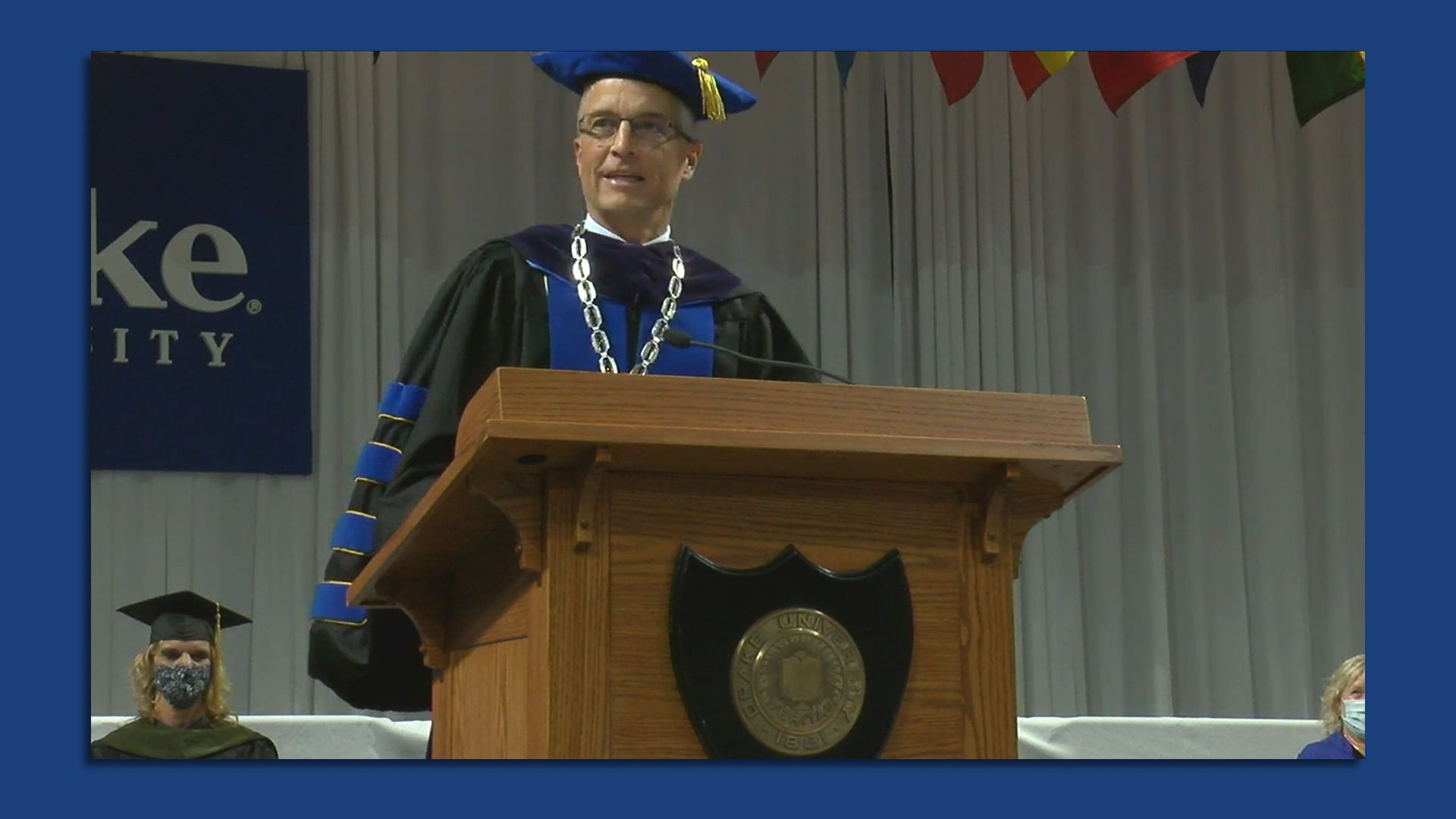 Drake University President Marty Martin speaks during a May 14 commencement ceremony