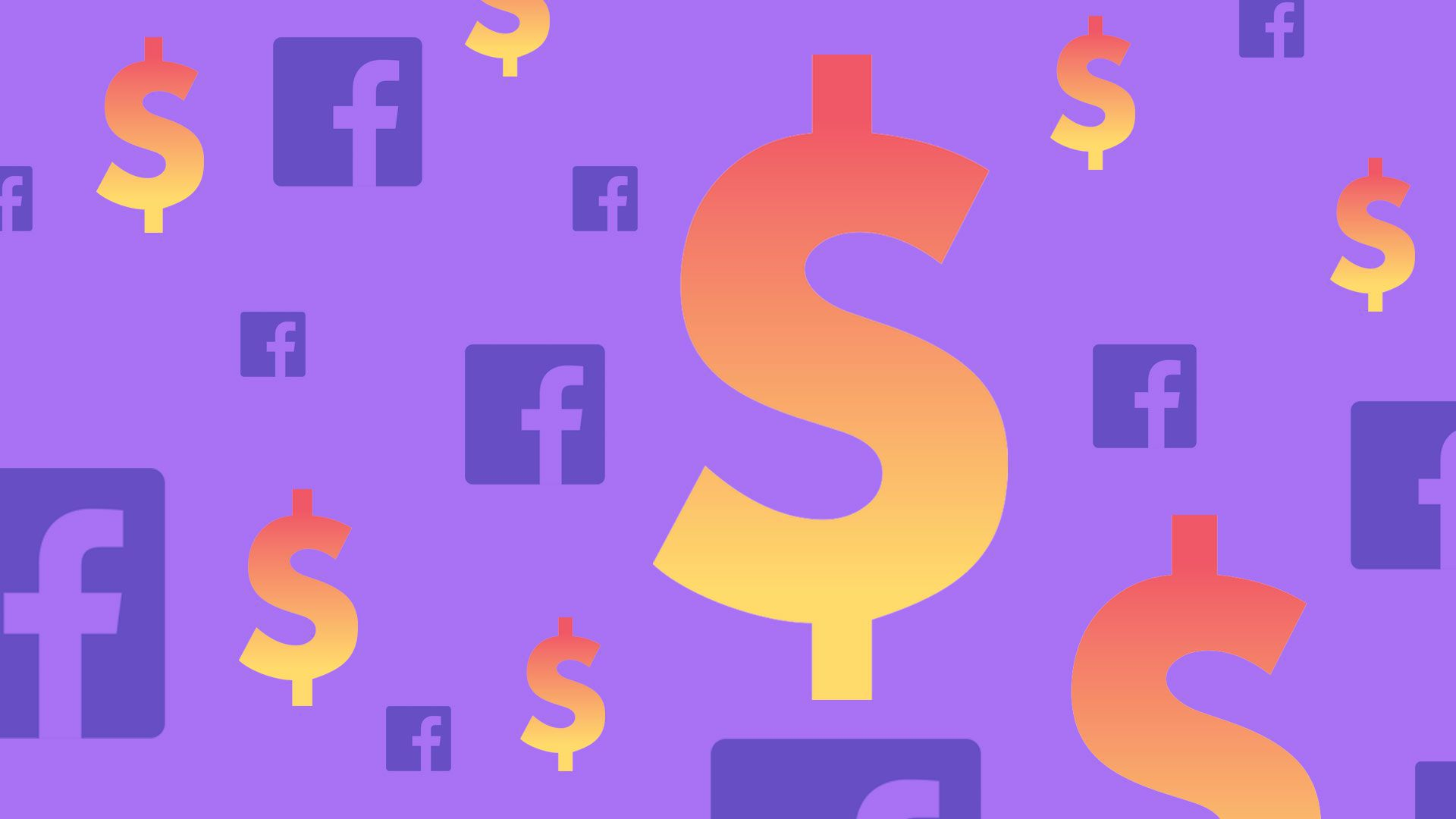 An illustration of the Facebook logo and dollar signs against a purple background