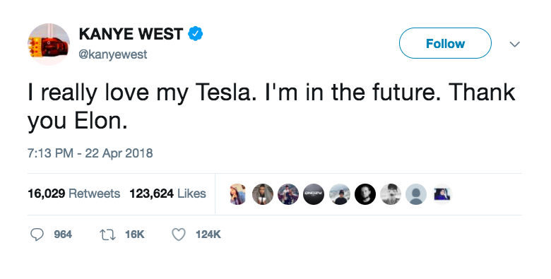 Screenshot of Kanye West's Twitter feed praising his Tesla