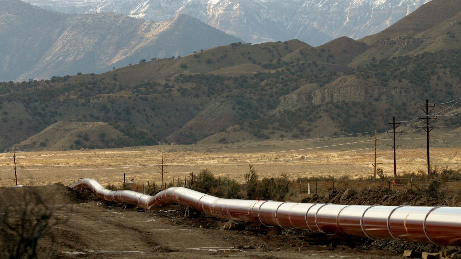 natural gas pipeline crossing mountain valley