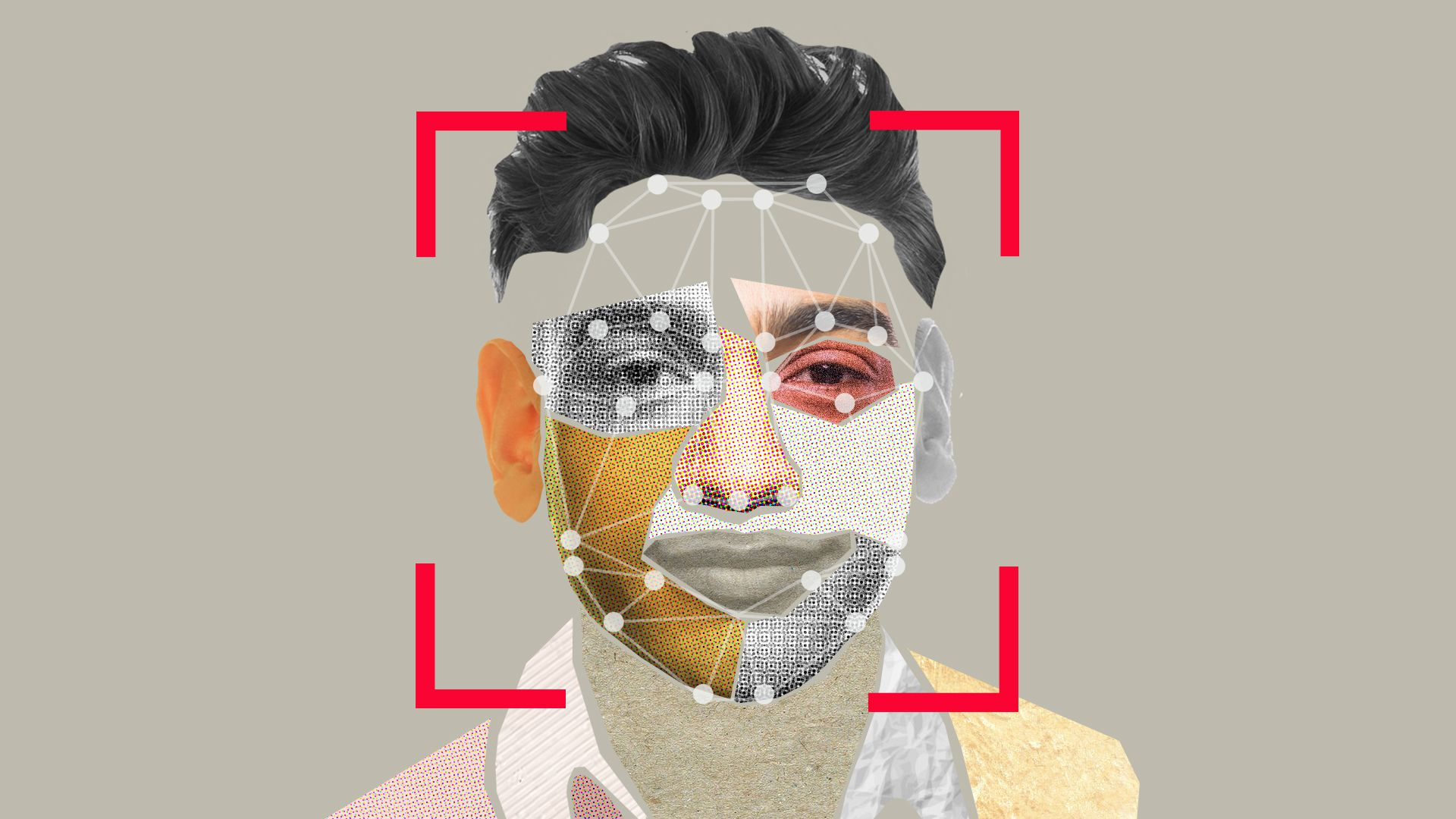 In this illustration, a man's face is pixellated and seen through the lens of a camera