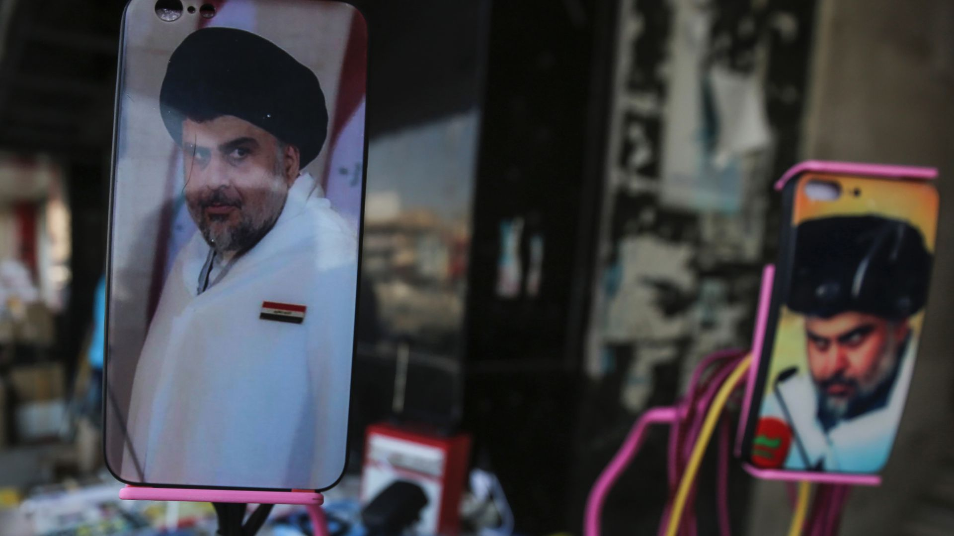 Muqtada al-Sadr on cell phone covers.