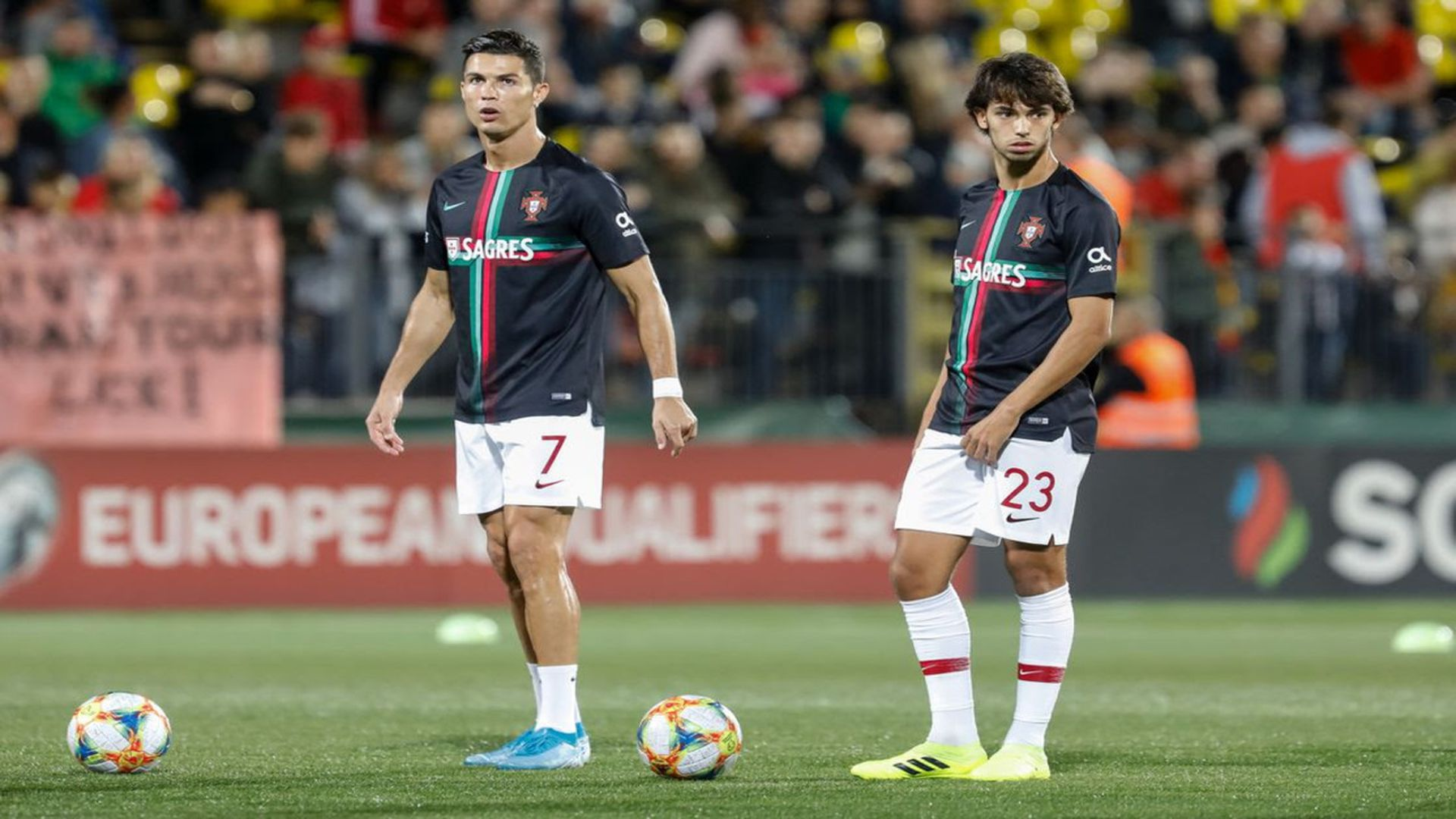 Cristiano Ronaldo (the present) and João Félix (the future). Photo: Mike Kireev/NurPhoto via Getty Images