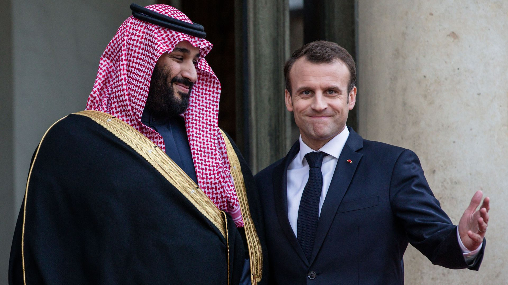 French President Emmanuel Macron welcomes the Crown Prince of Saudi Arabia Mohammed Bin Salman