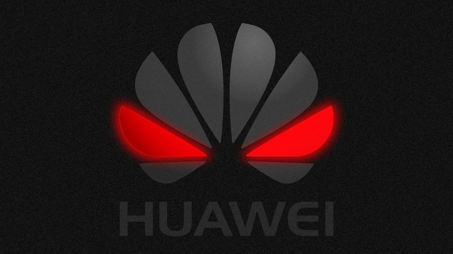 Illustration of Huawei logo with red glowing eyes