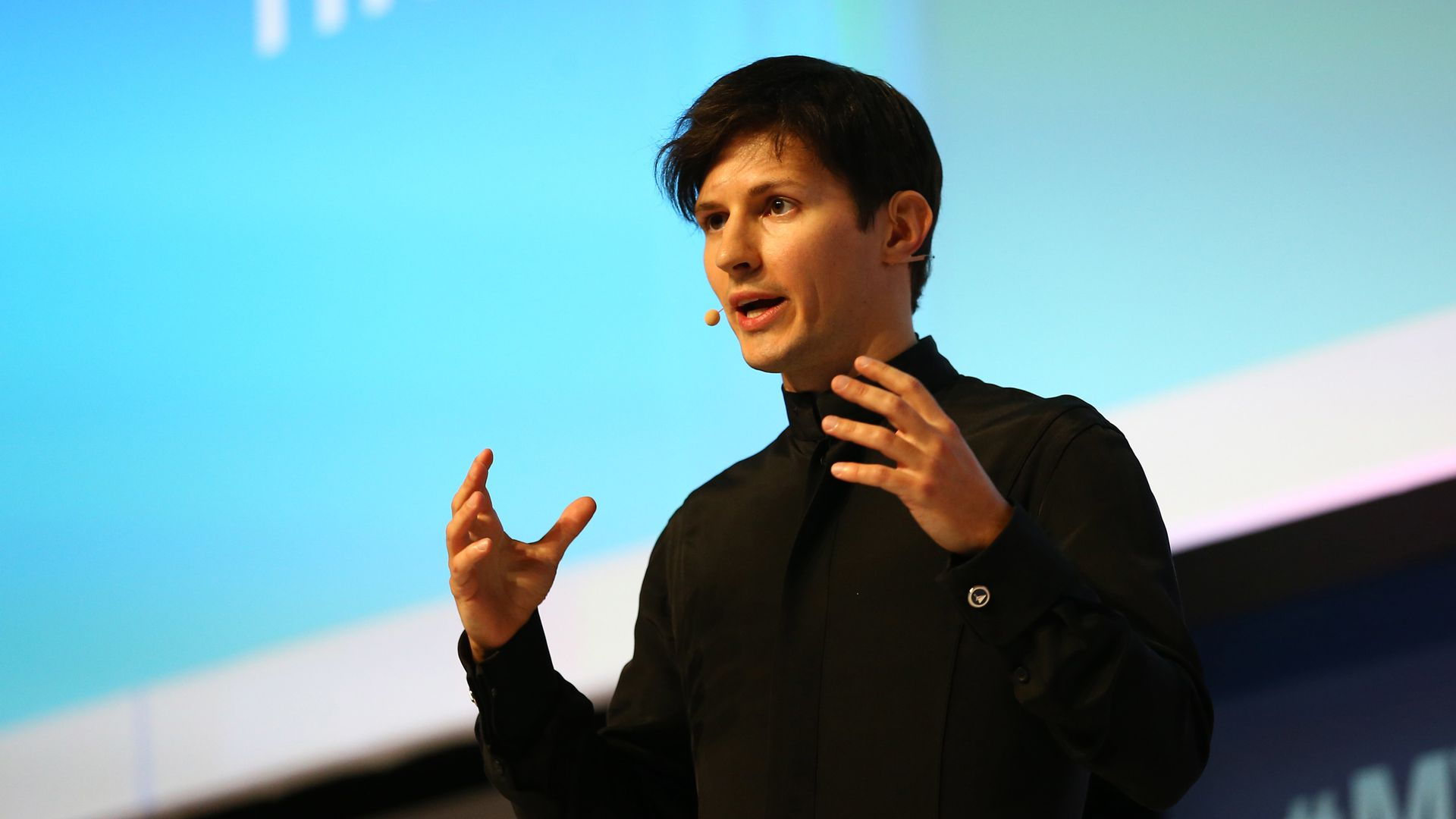 Telegram founder and CEO Pavel Durov delivers his keynote conference during day two of the Mobile World Congress at the Fira Gran Via complex in Barcelona, Spain on February 23, 2016.