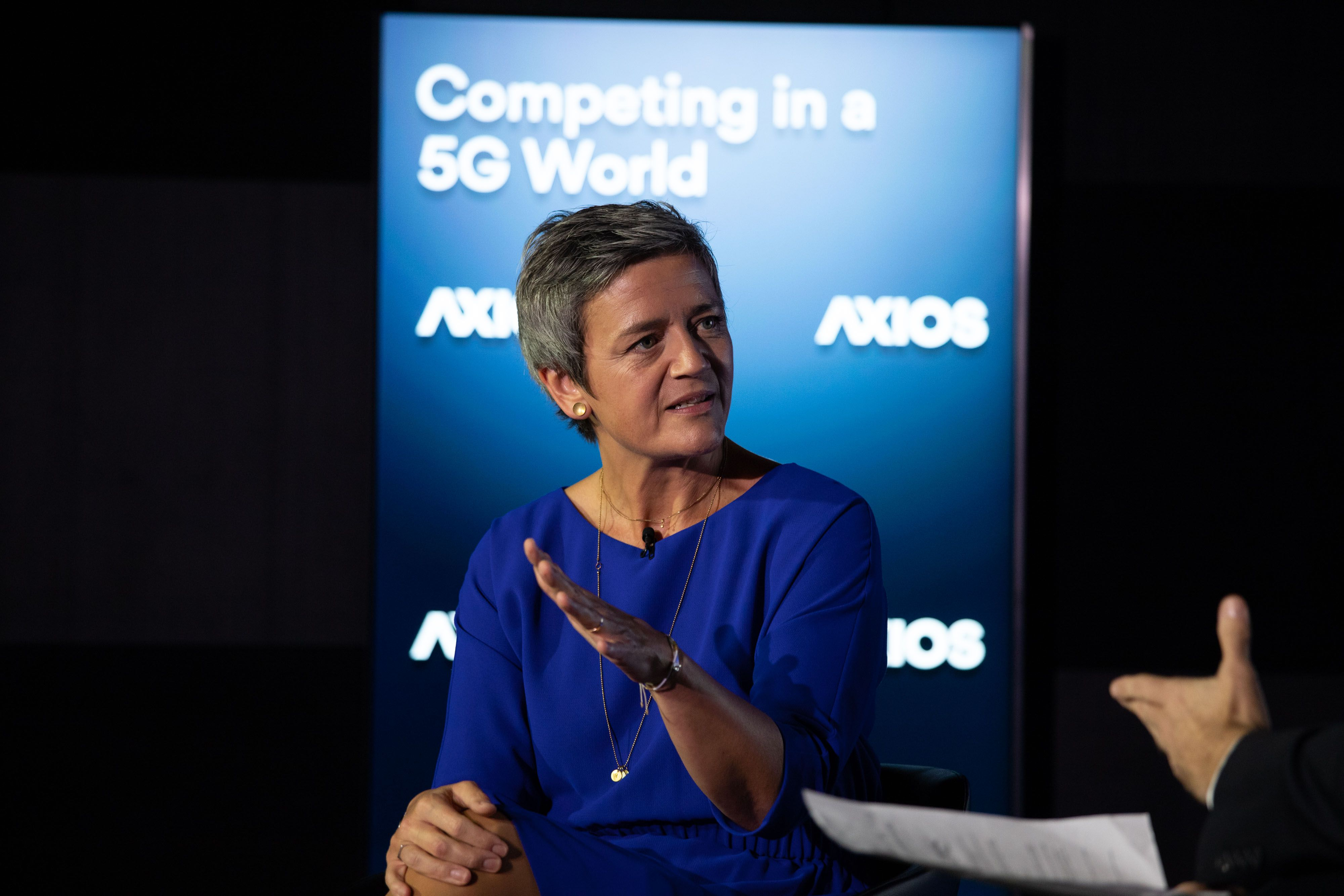 Commissioner Margrethe Vestager speaking on the Axios stage