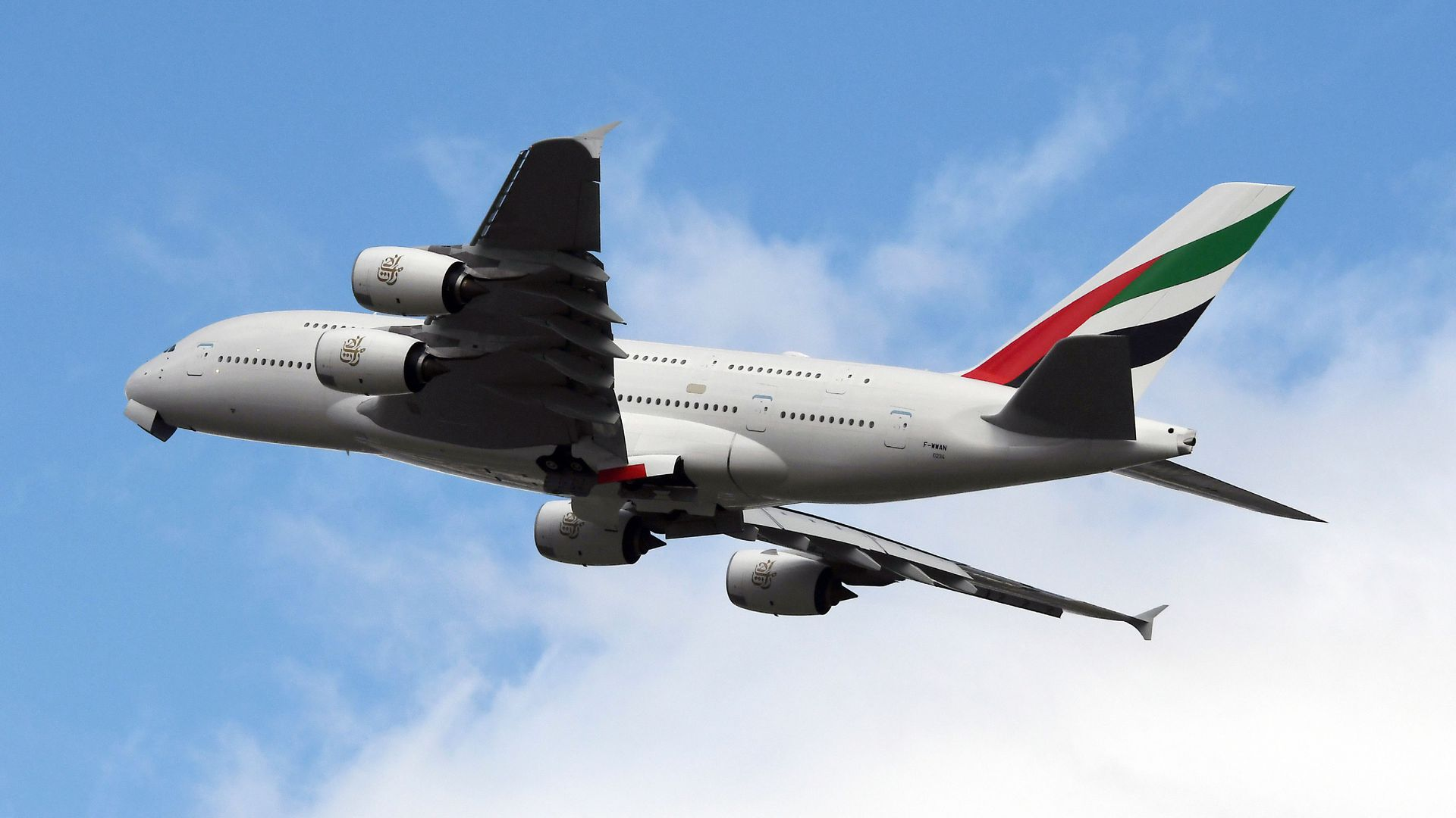 An Emirates Airbus A380 takes off