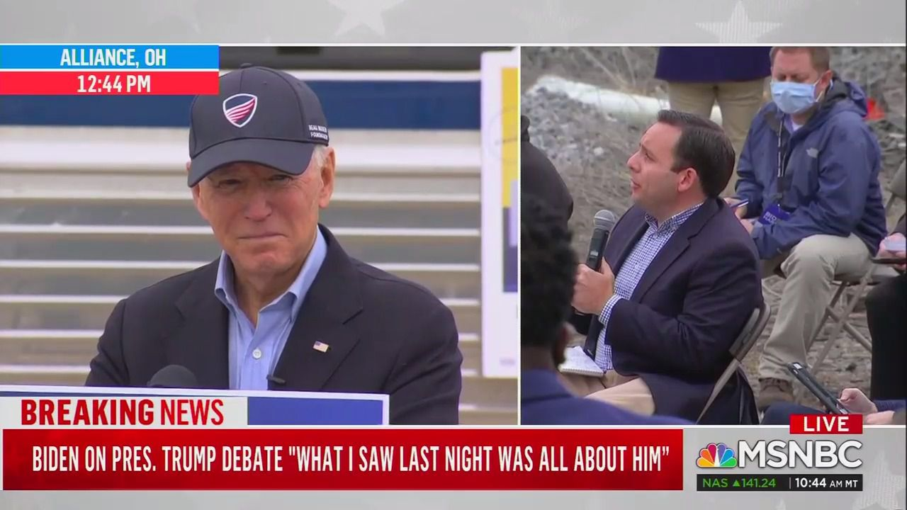 "Biden condemns Proud Boys, calls Trump's debate performance a ""national embarrassment"" thumbnail"